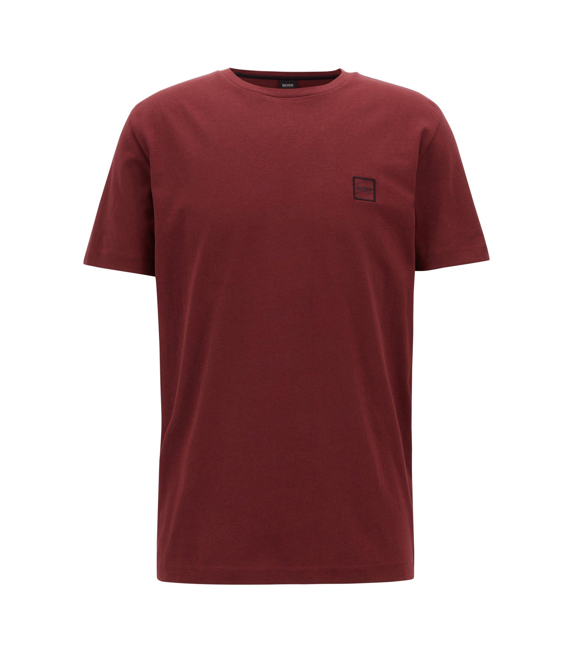 Camiseta de cuello redondo en punto sencillo de algodón, Rojo oscuro