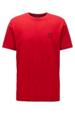 T-shirt à col ras-du-cou en jersey simple de coton, Rouge