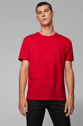 Crew-neck T-shirt in single-jersey cotton, Red