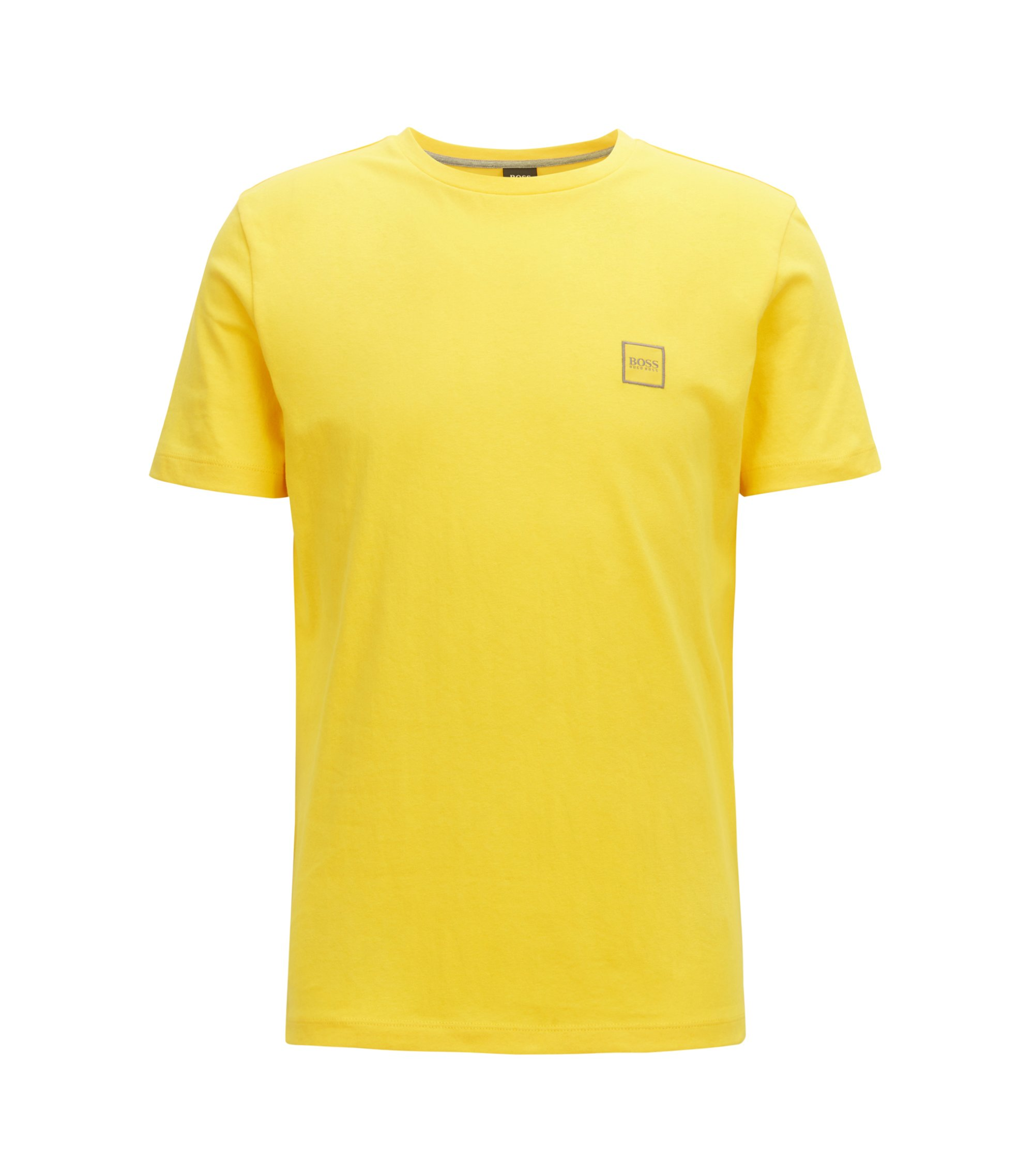 Crew-neck T-shirt in single-jersey cotton, Yellow