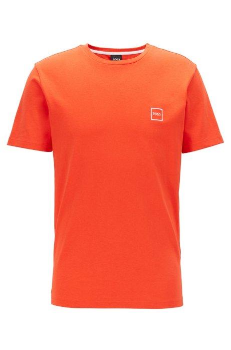 T-shirt à col ras-du-cou en jersey simple de coton, Orange