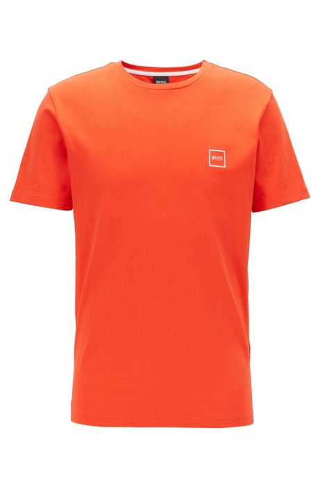 Crew-neck T-shirt in single-jersey cotton, Orange