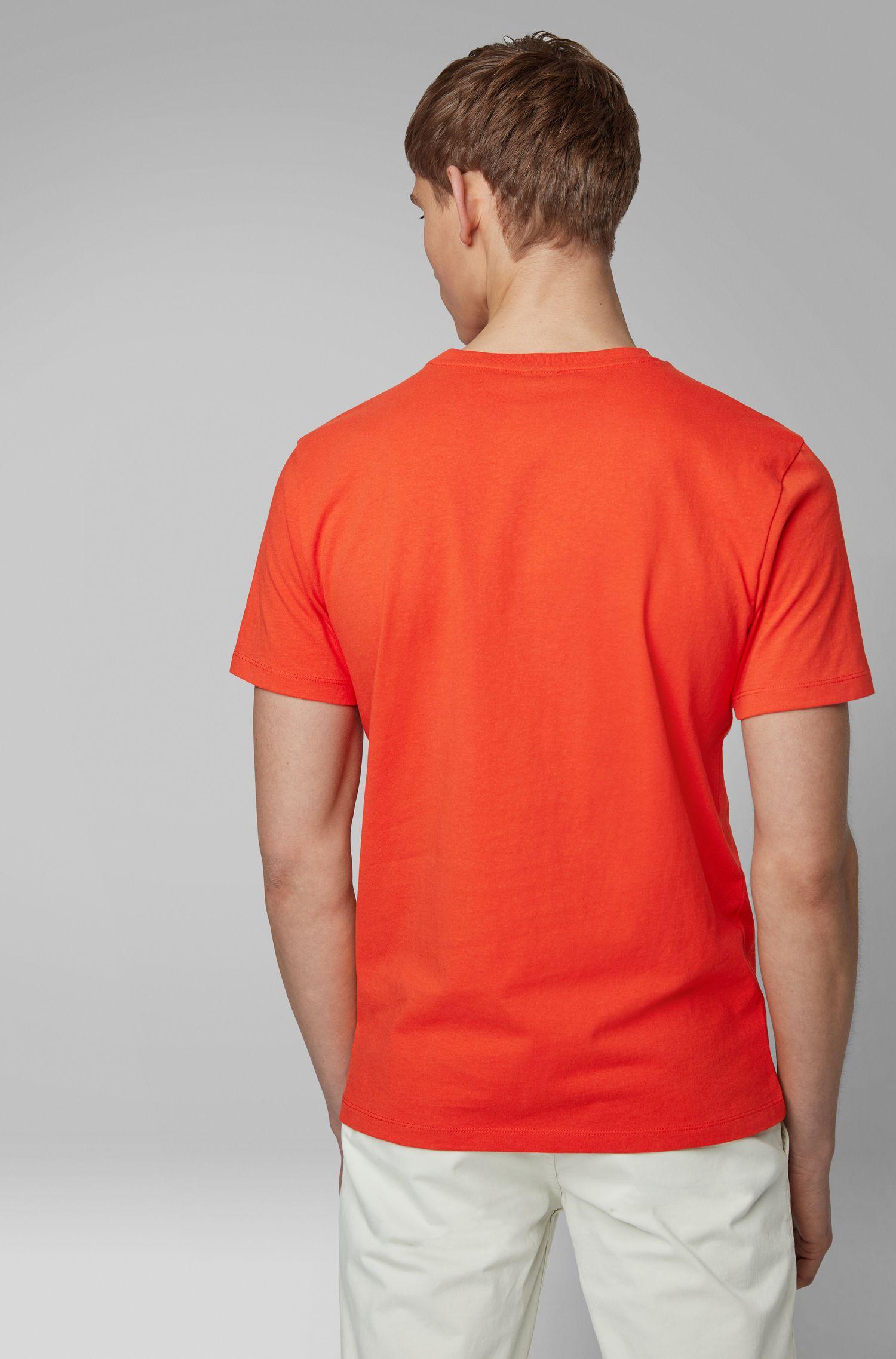 T-Shirt aus Baumwoll-Jersey mit Rundhalsausschnitt, Orange