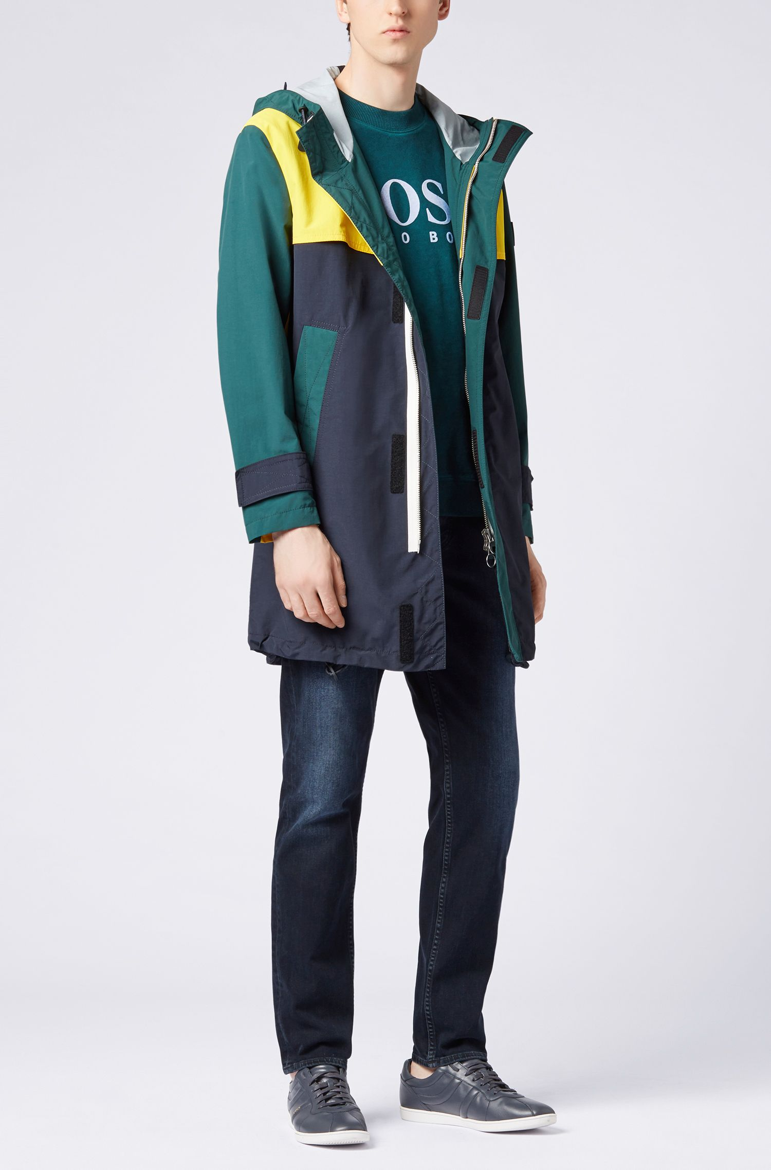French-terry sweatshirt with multicoloured degradé logo print, Dark Green