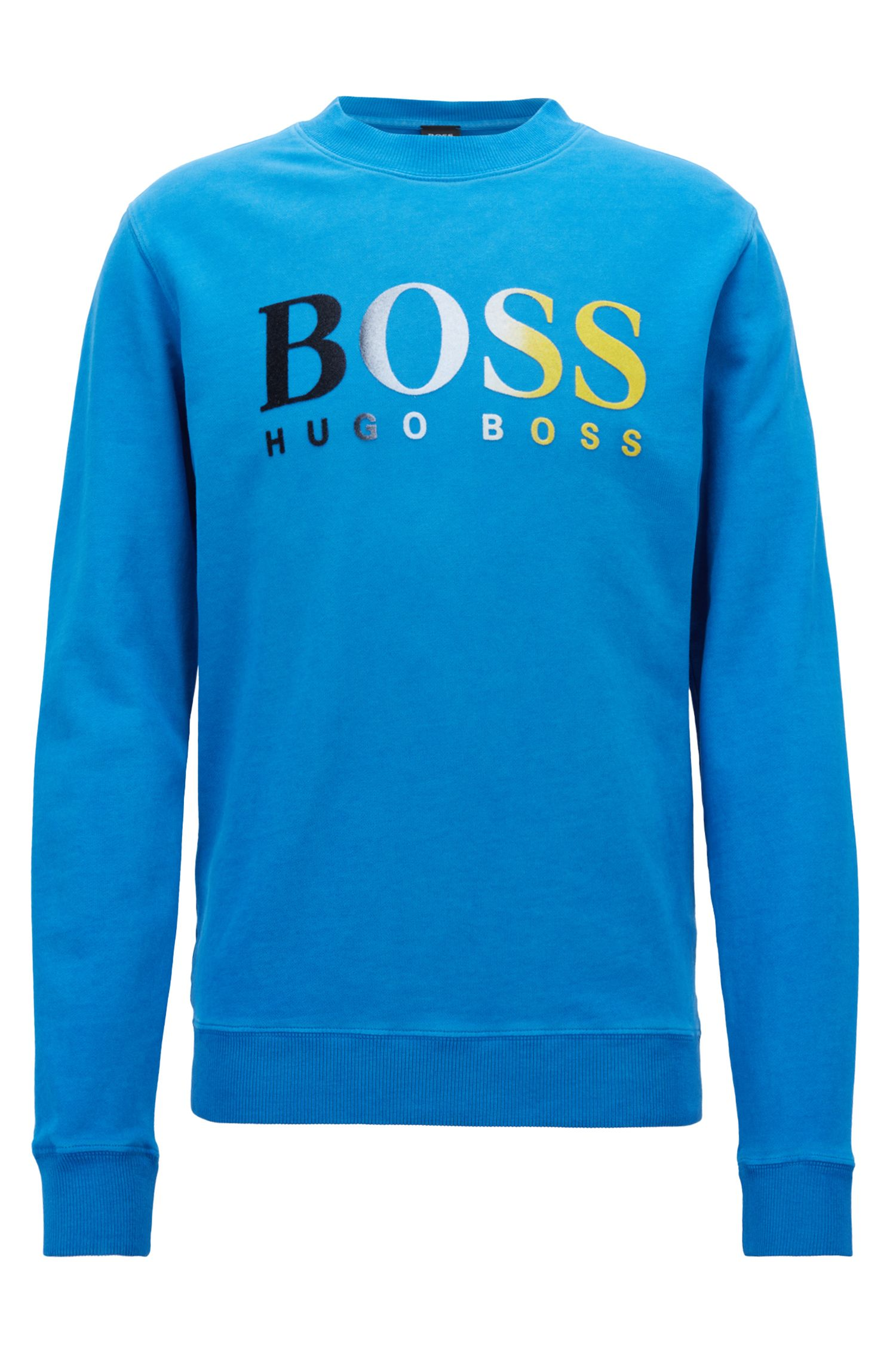 Sweatshirt aus French Terry mit Logo-Print in Dégradé-Optik, Blau