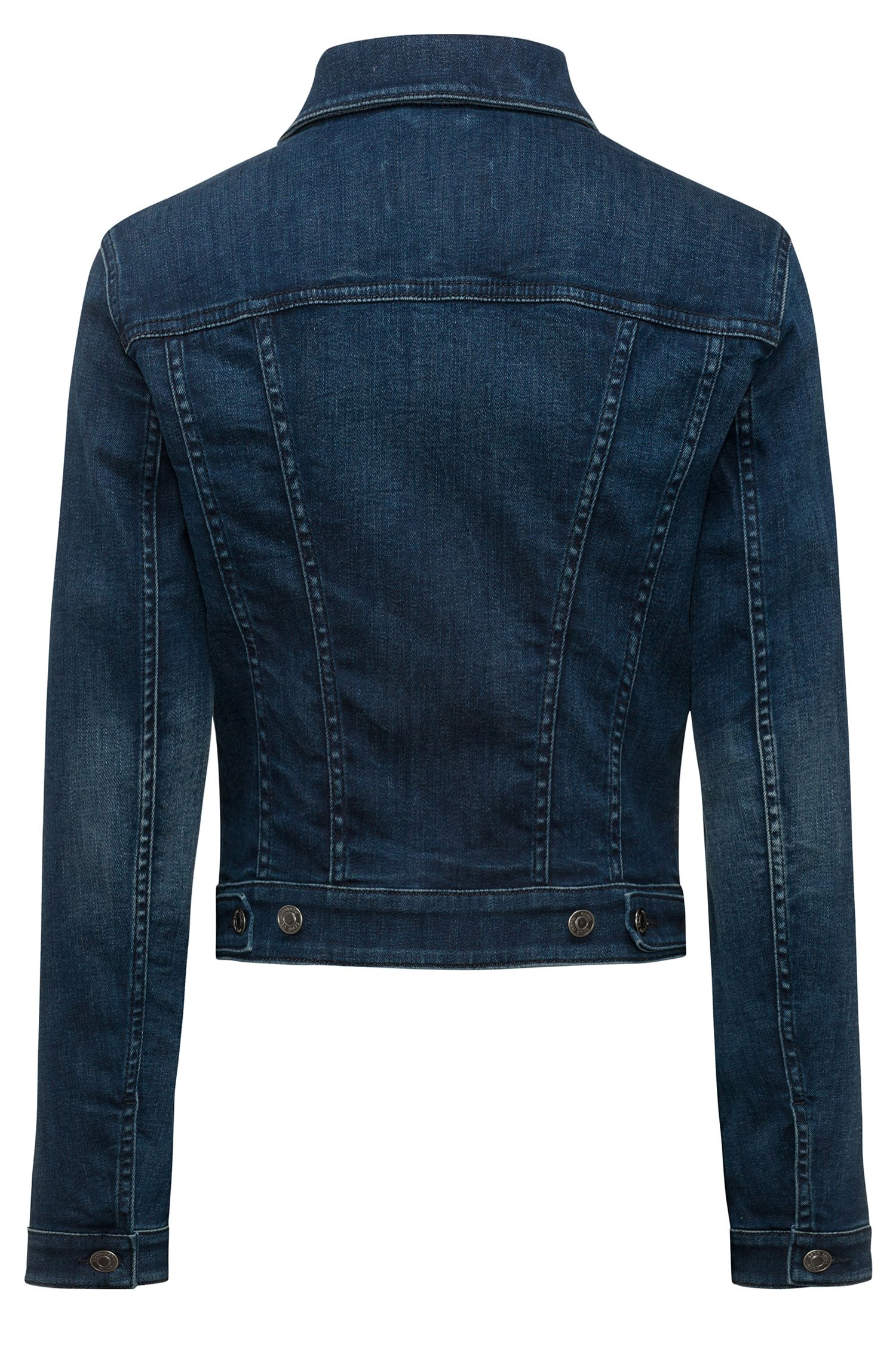Slim-fit cropped denim jacket in mid blue, Blue