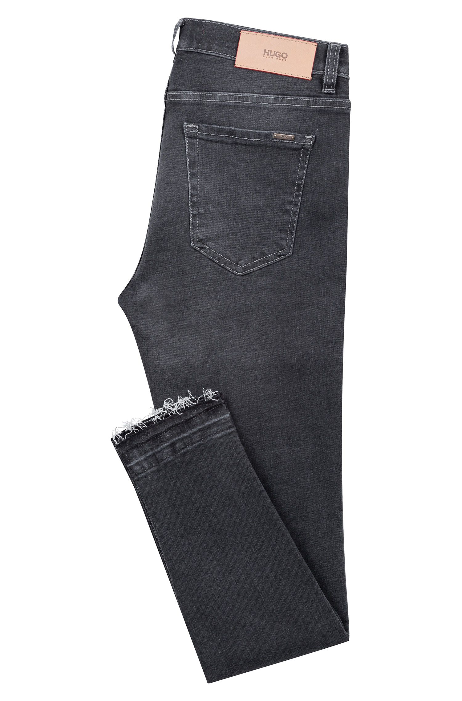 Jean raccourci Extra Slim Fit à bords francs, Anthracite