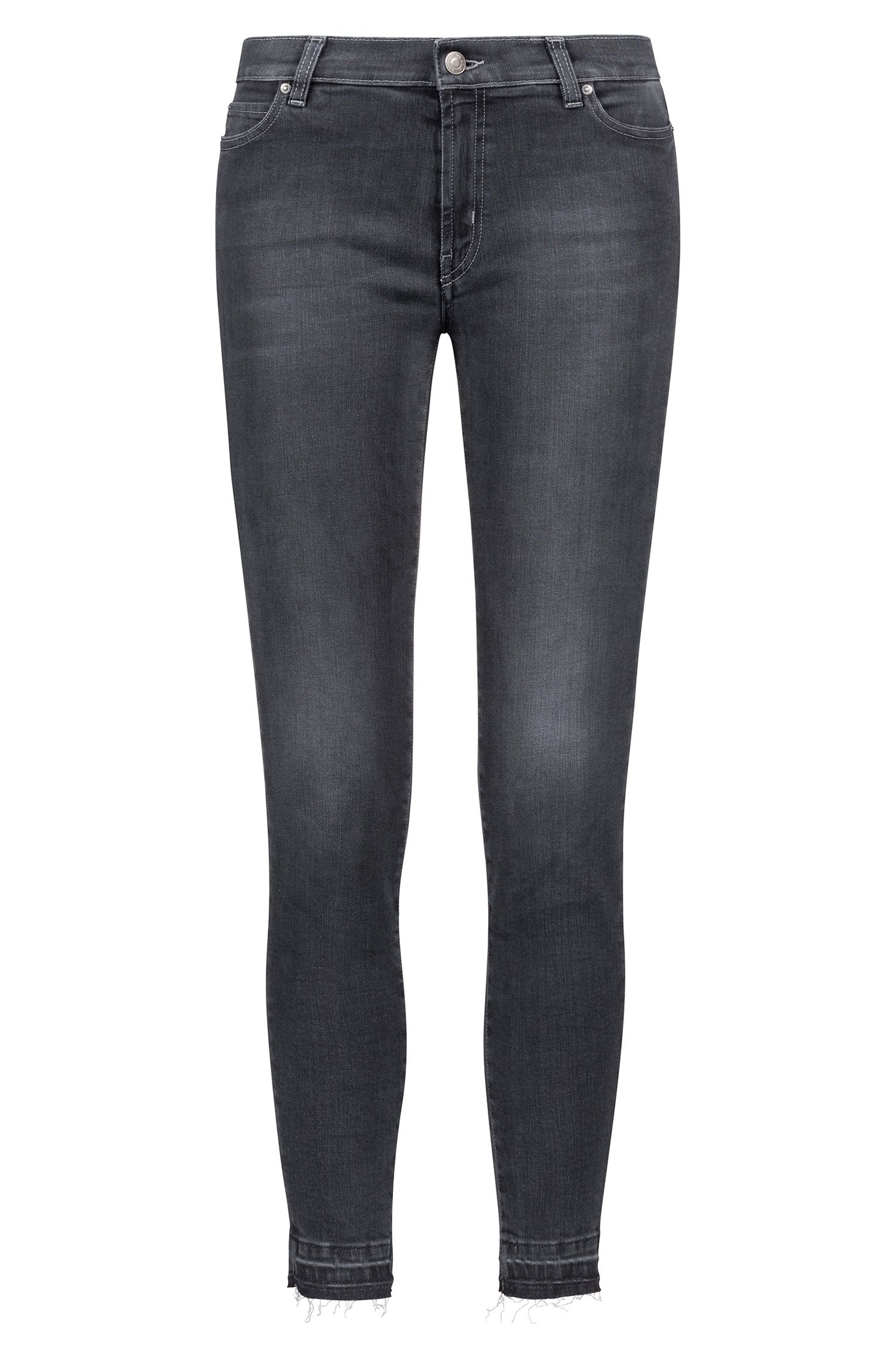 Extra-slim-fit cropped jeans with raw-cut hems, Anthracite