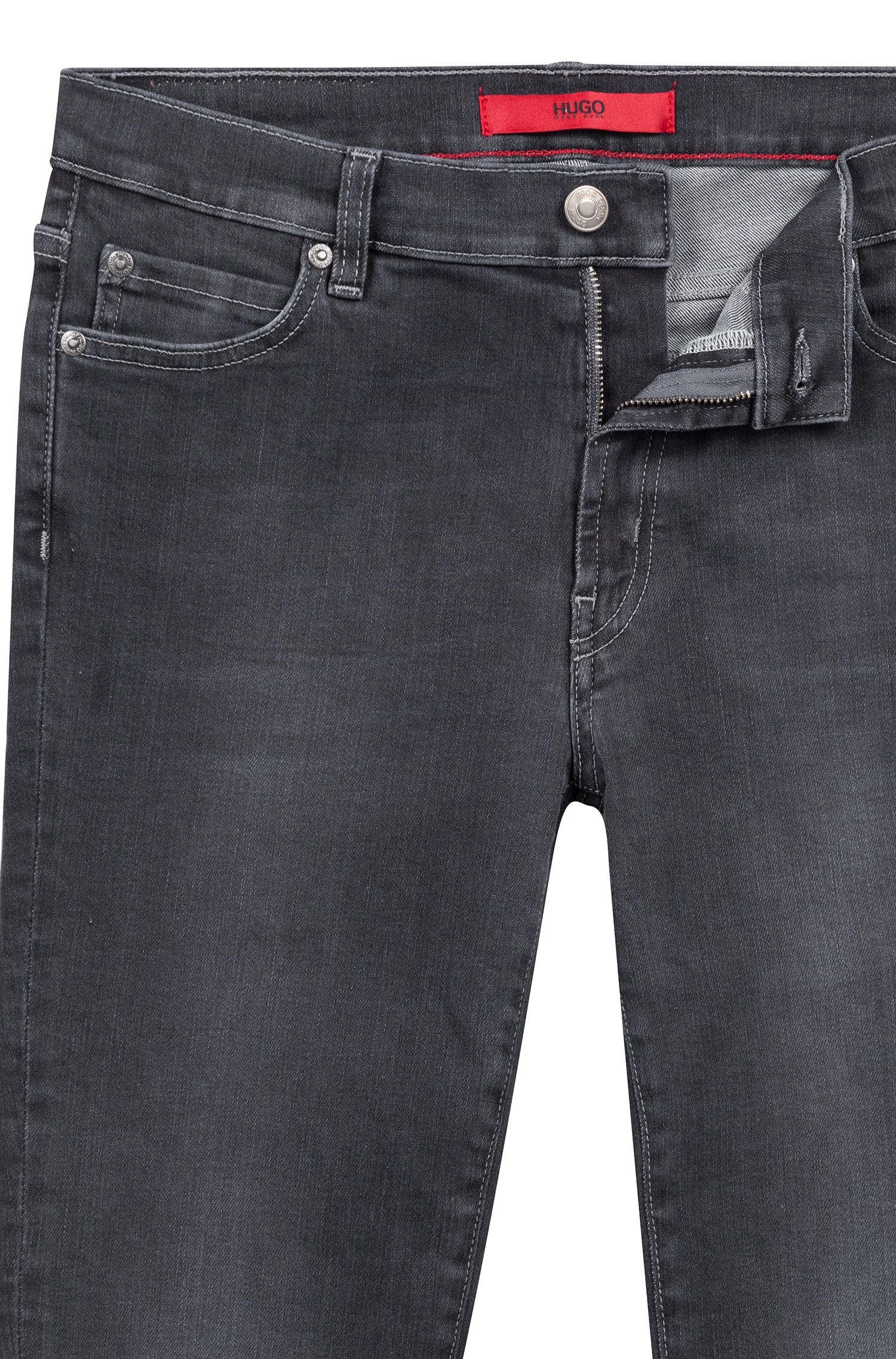 Extra Slim-Fit Jeans in Cropped-Länge mit offenen Kanten, Anthrazit