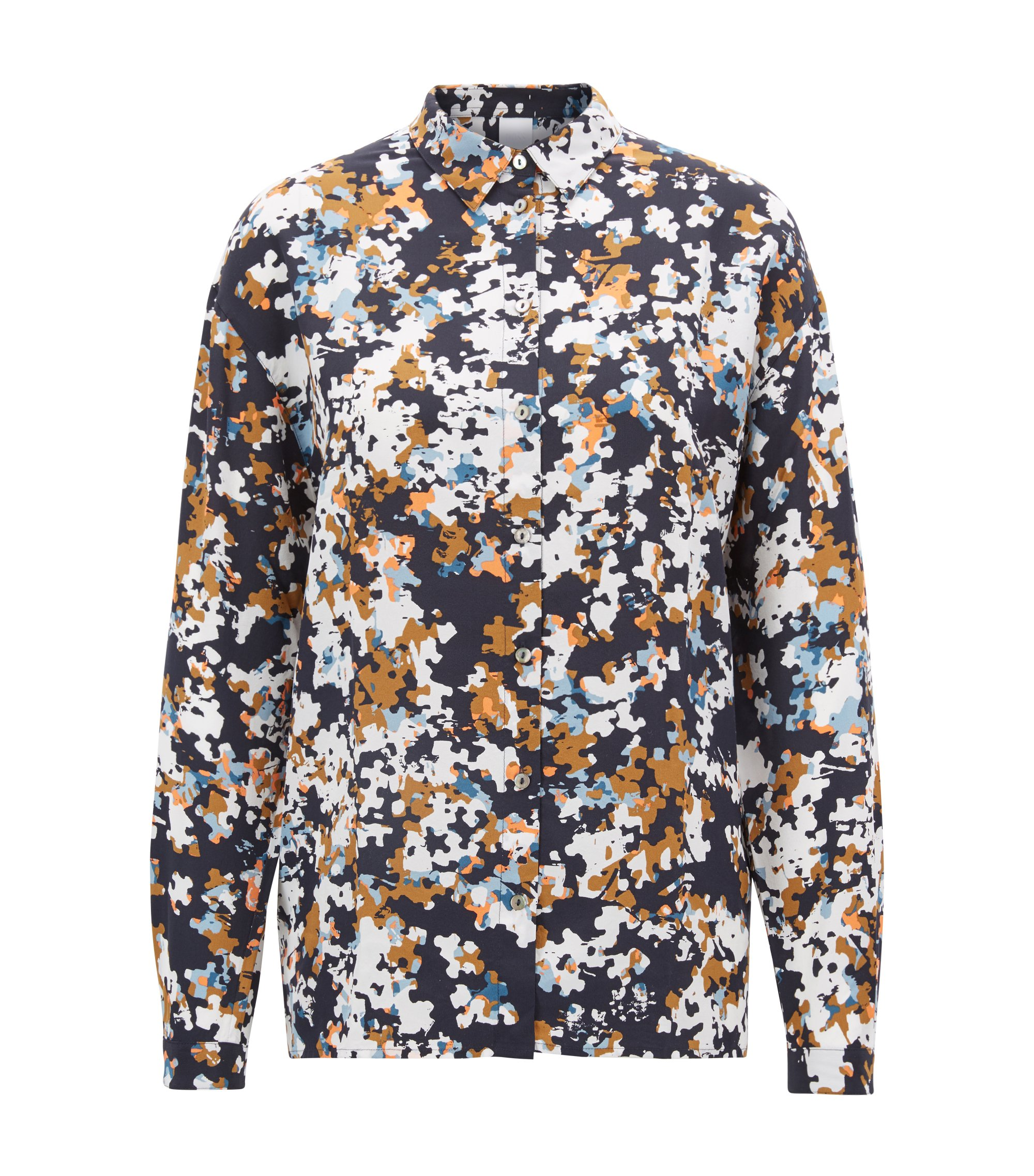Oversized-fit silk blouse with puzzle-effect print, Patterned