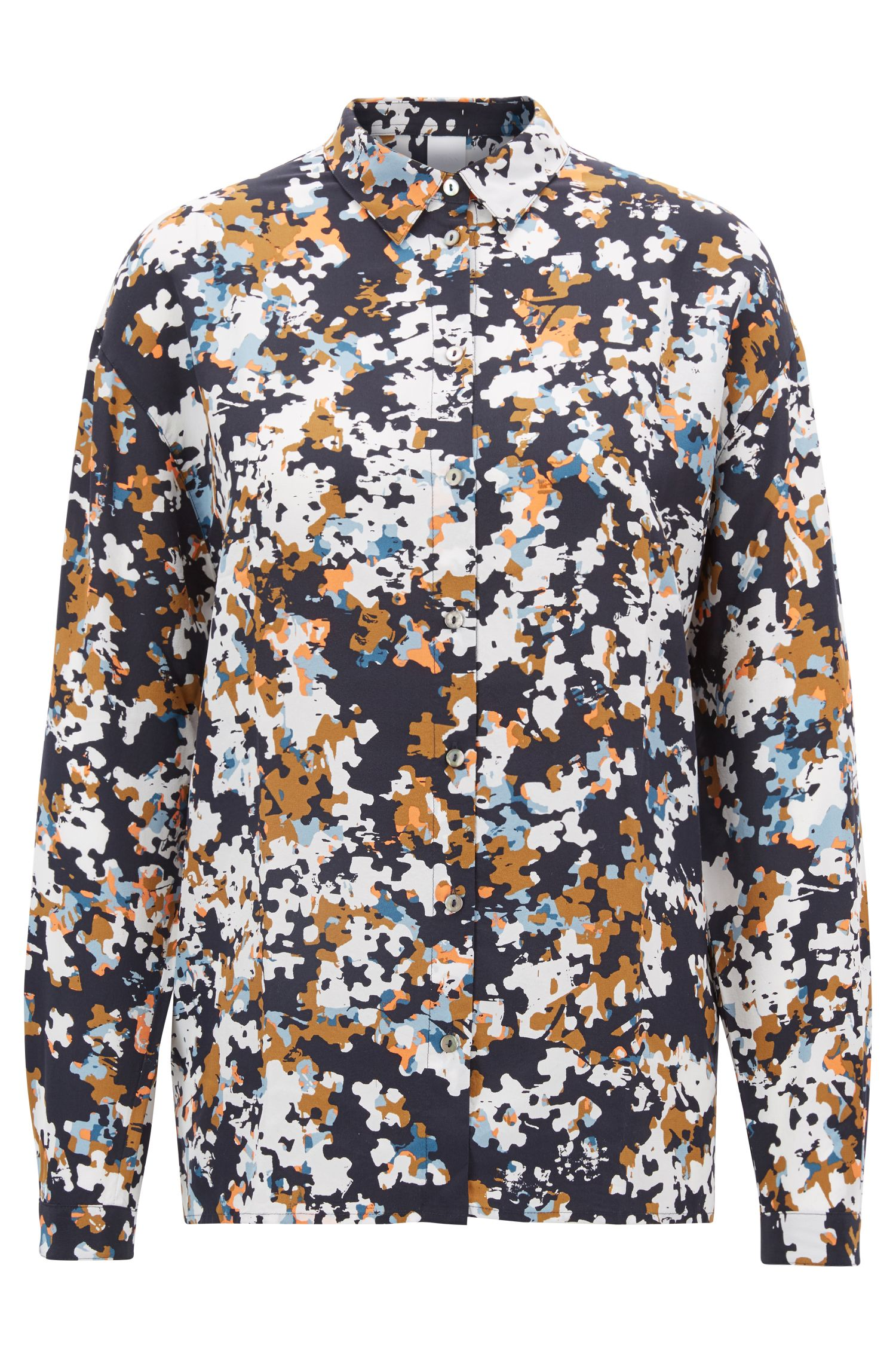 Oversized-fit silk blouse with puzzle-effect print