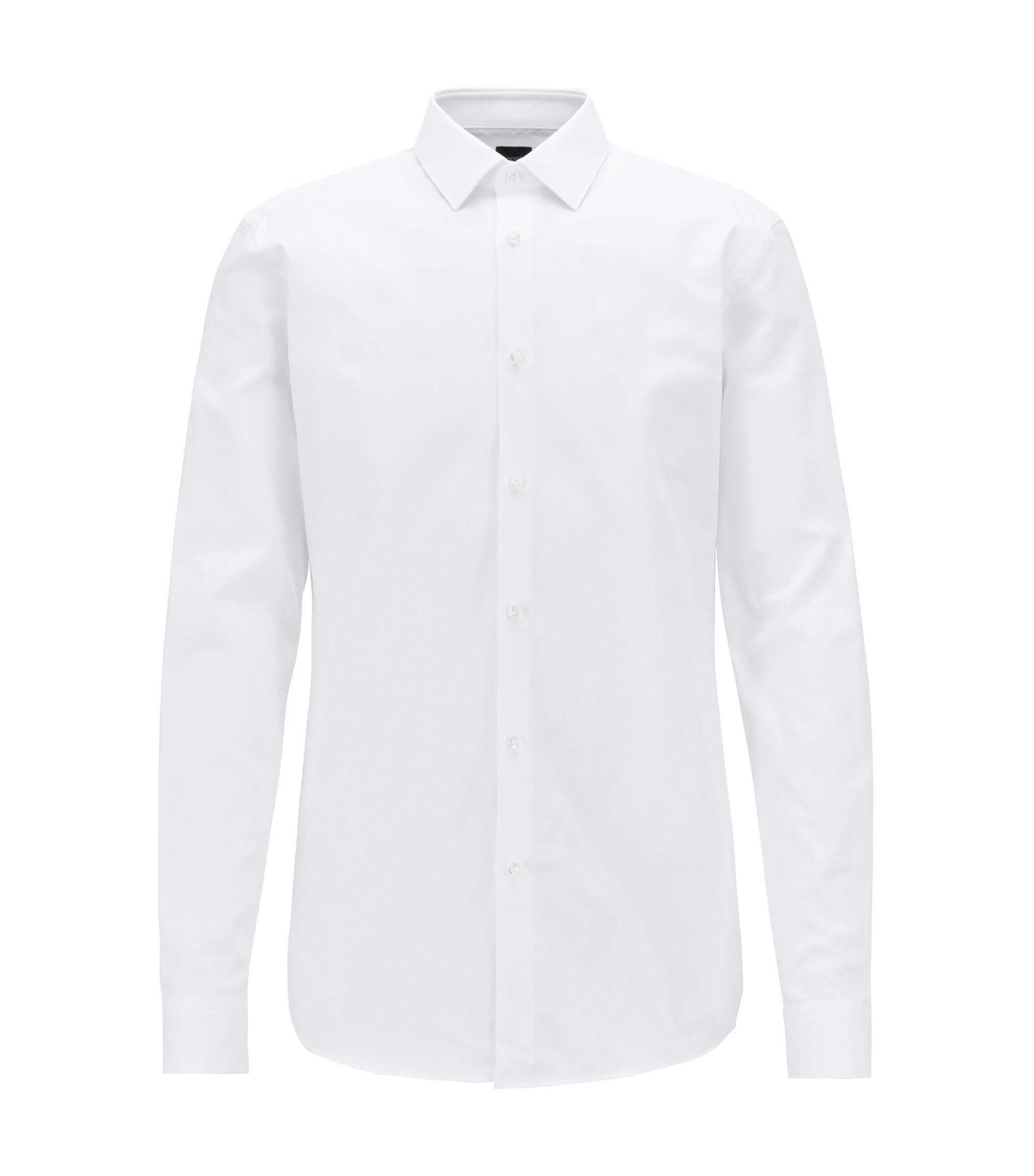 Royal Oxford cotton slim-fit shirt with mother-of-pearl buttons, White