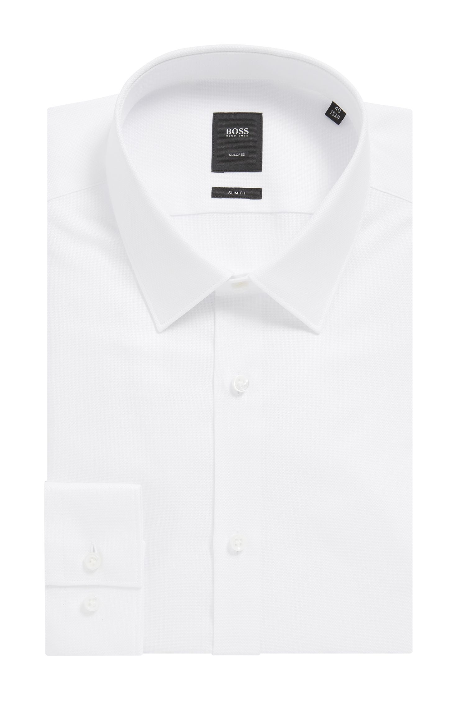 Camicia slim fit in cotone Royal Oxford con bottoni in madreperla, Bianco