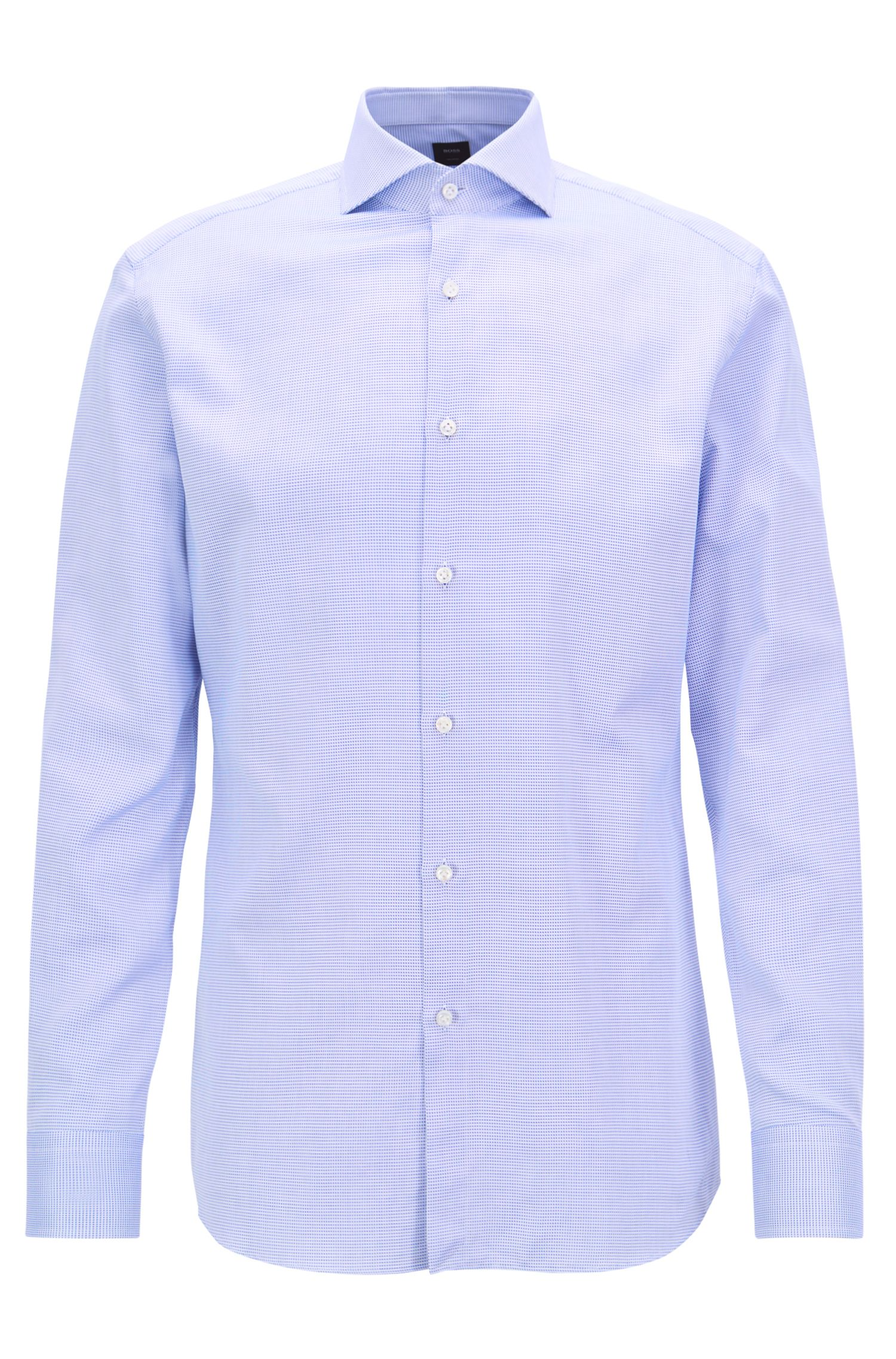 BOSS Tailored slim-fit shirt in Italian dobby cotton