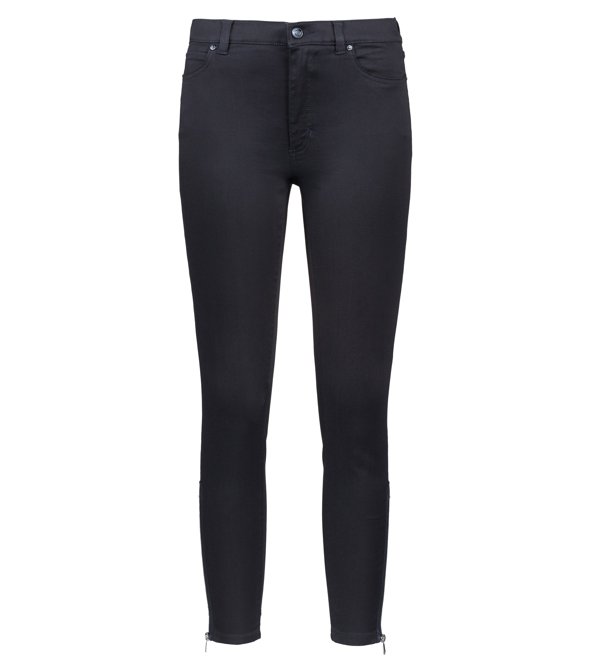 Jeans skinny fit in denim elasticizzato con zip, Blu scuro