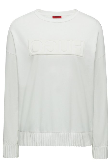 Relaxed-fit sweater with embossed reversed logo, Natural
