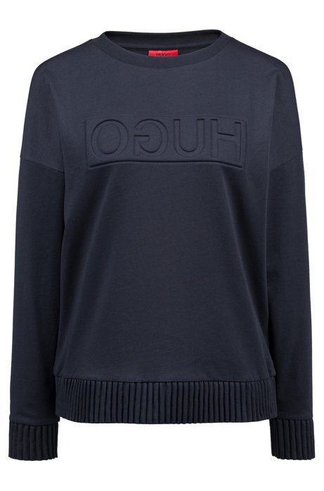 Relaxed-fit sweater with embossed reversed logo, Dark Blue