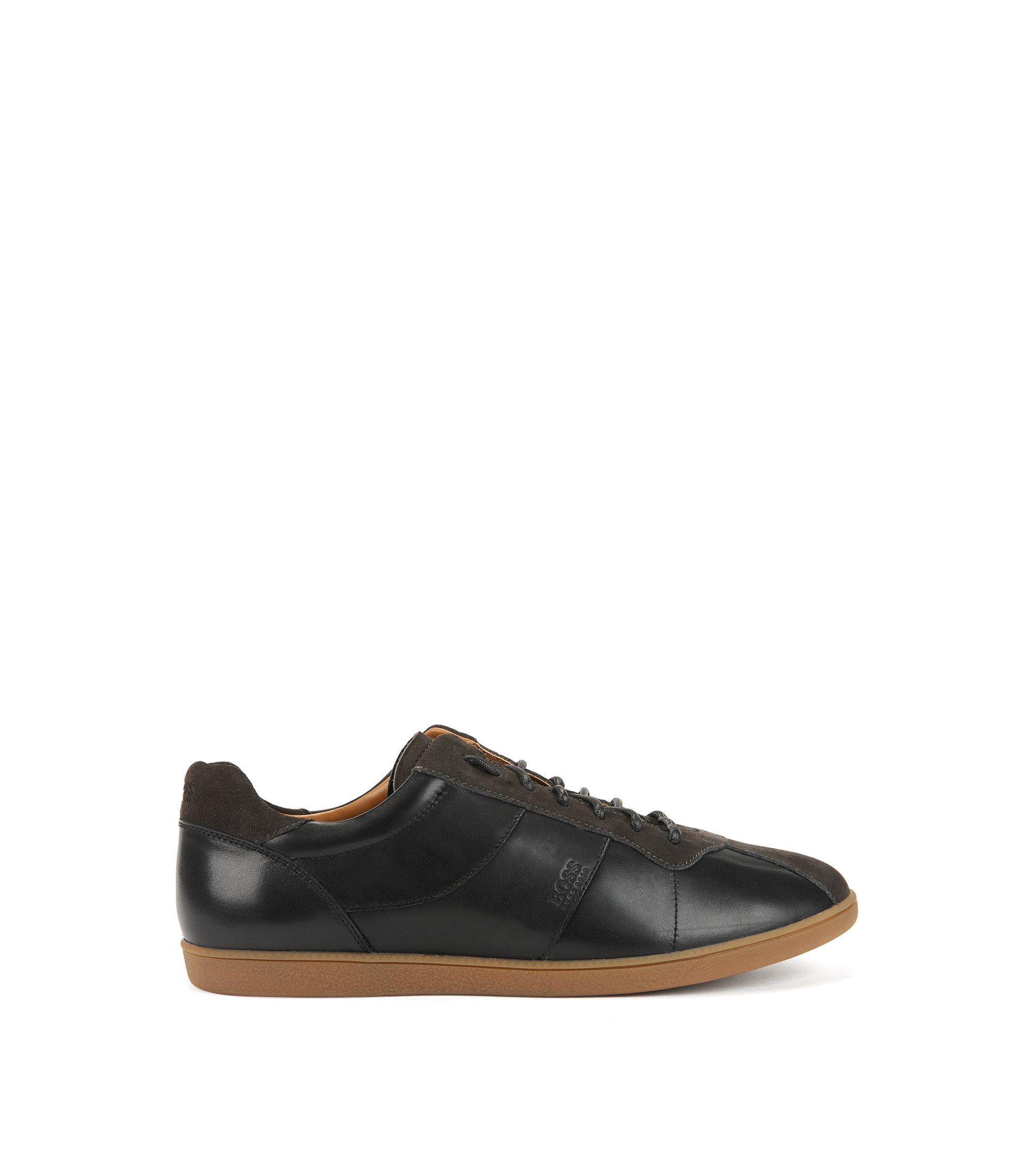 Tennis-style trainers in nappa leather with suede uppers, Black