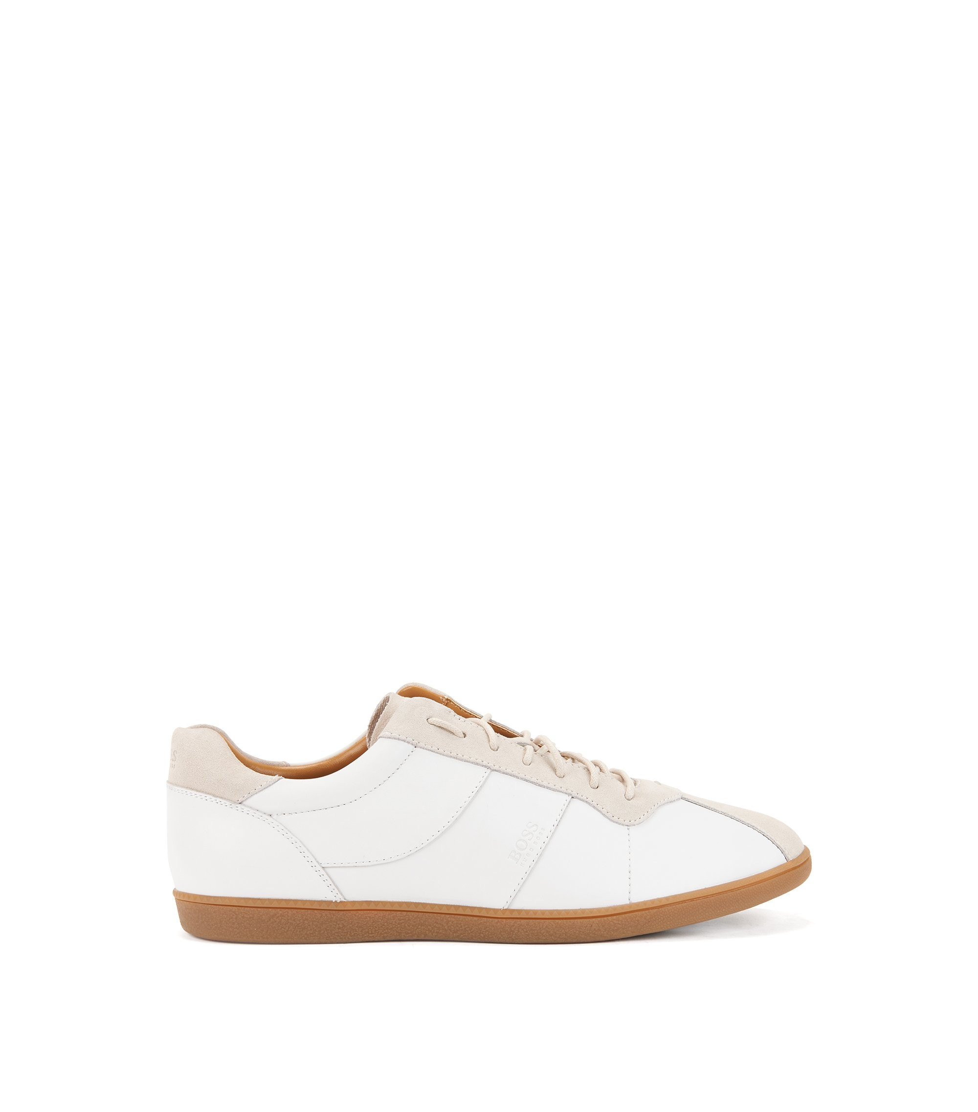 Tennis-style trainers in nappa leather with suede uppers, White