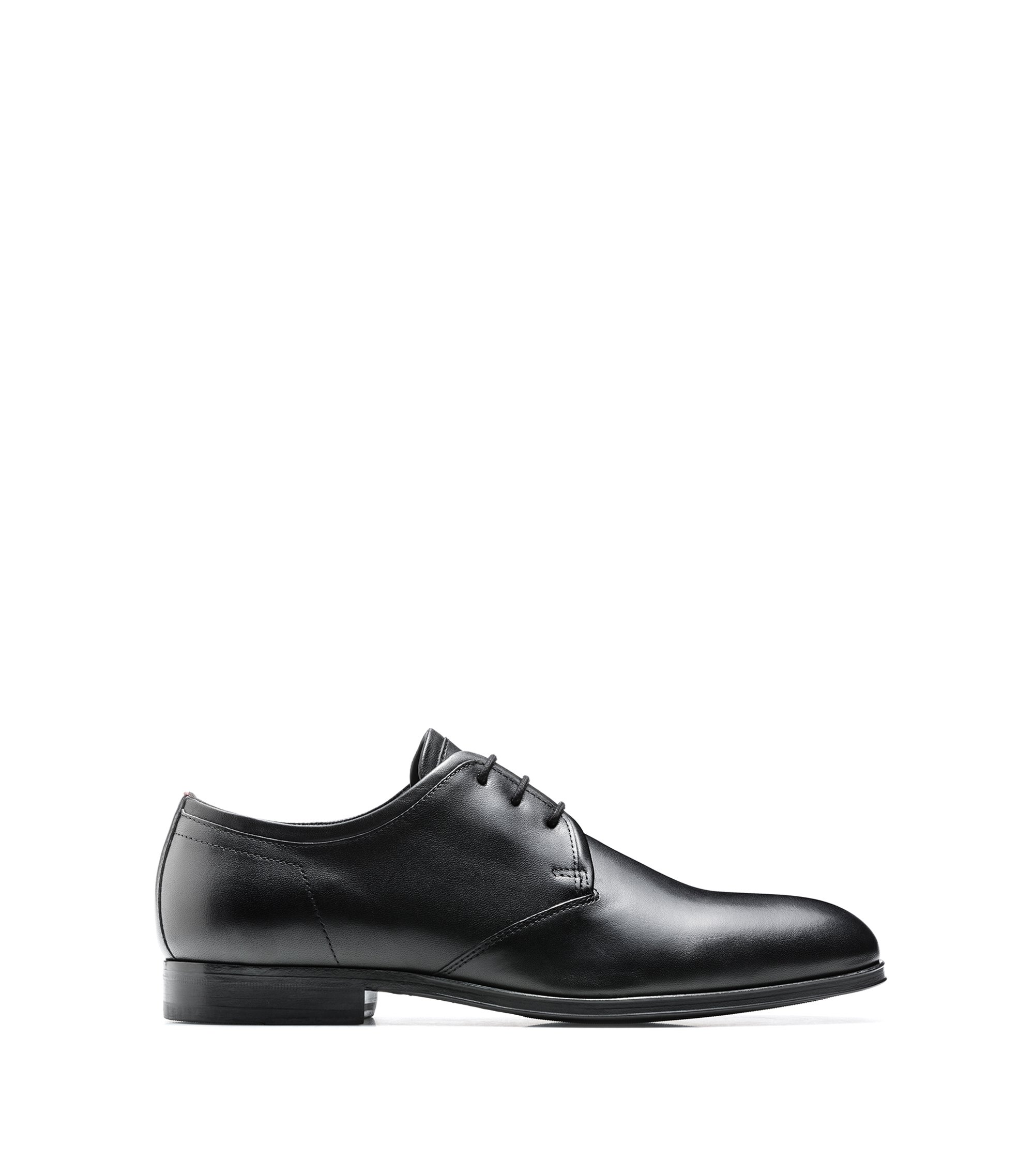 Derby shoes in calf leather with leather lining, Black