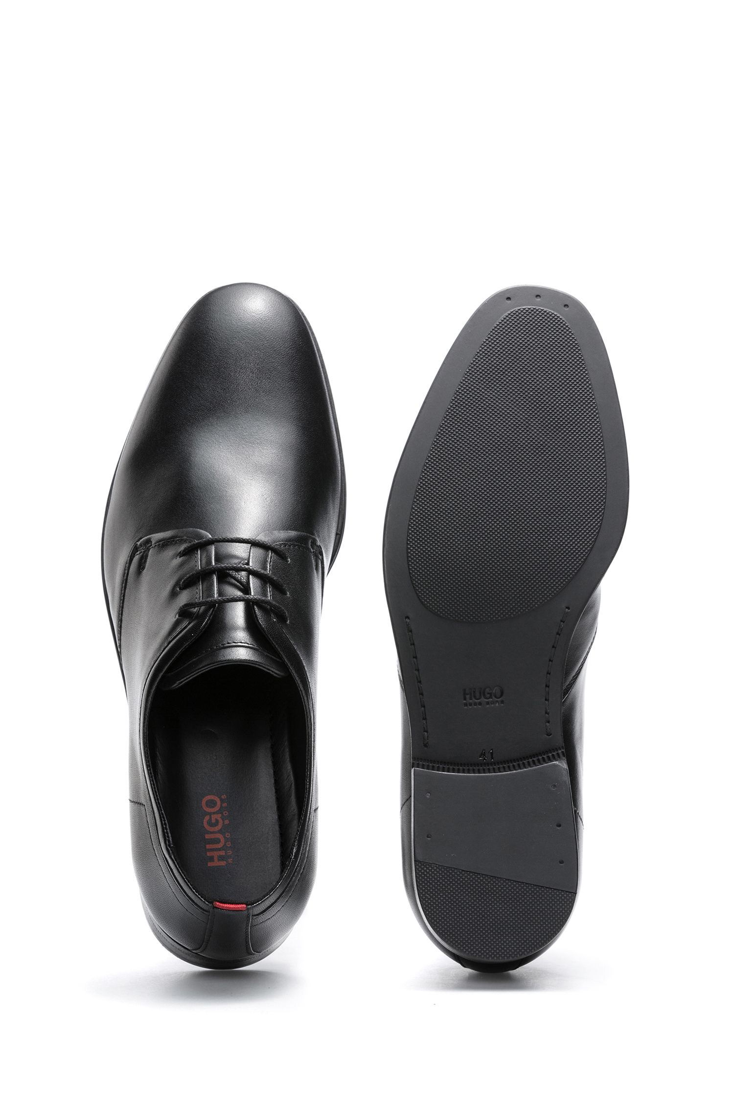 Scarpe derby in pelle di vitello con fodera interna in pelle, Nero
