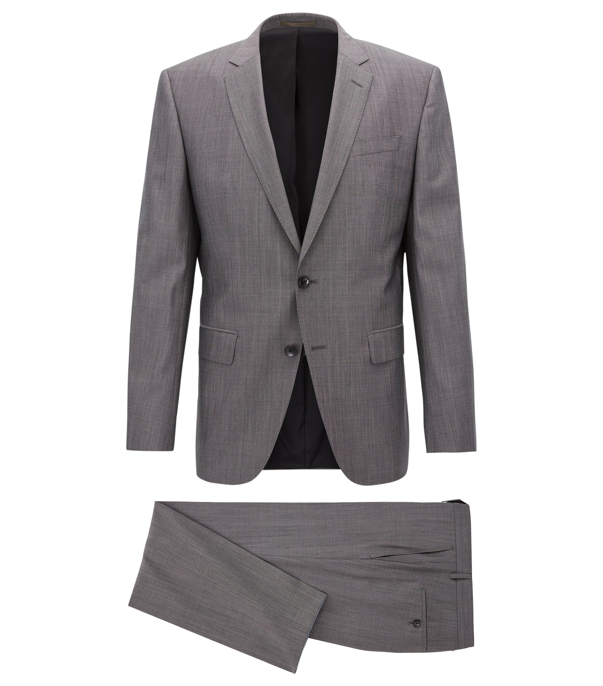 Slim-fit three-piece suit in a virgin-wool blend, Grey