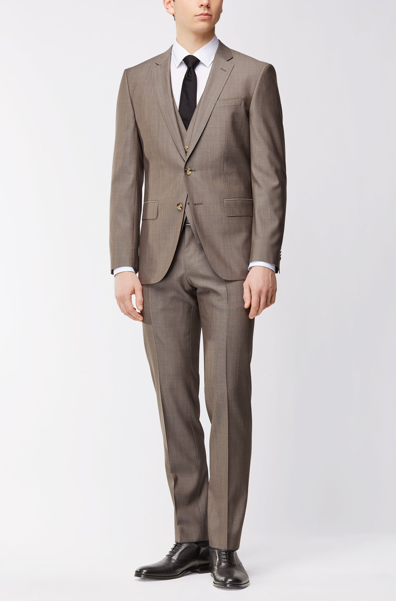 Slim-fit three-piece suit in a virgin-wool blend