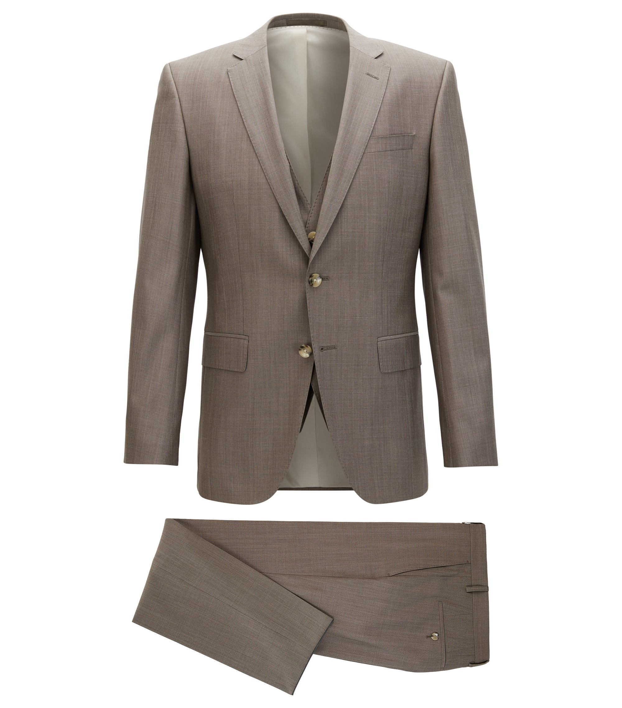 Slim-fit three-piece suit in a virgin-wool blend, Beige