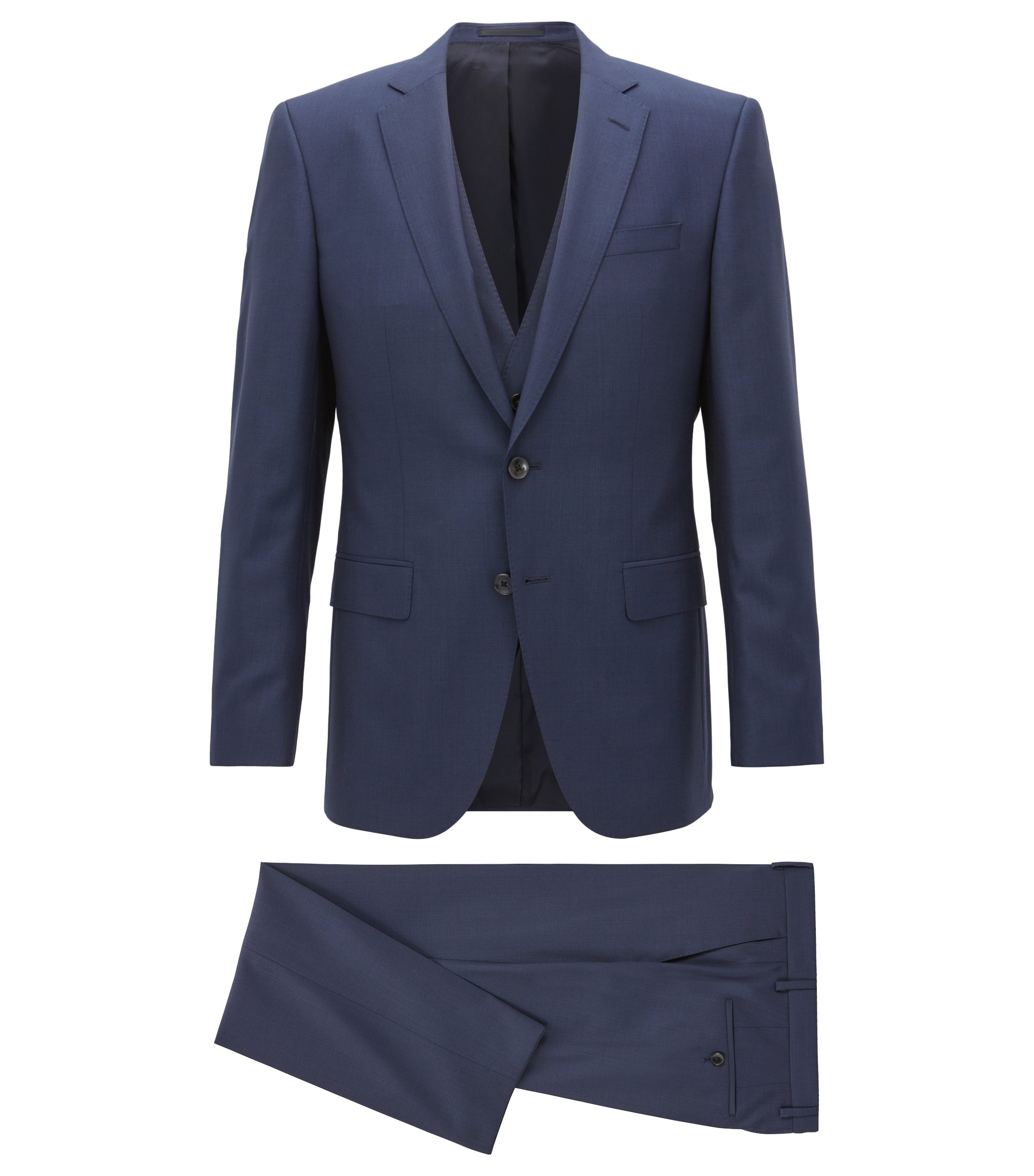 Slim-fit three-piece suit in a virgin-wool blend, Dark Blue