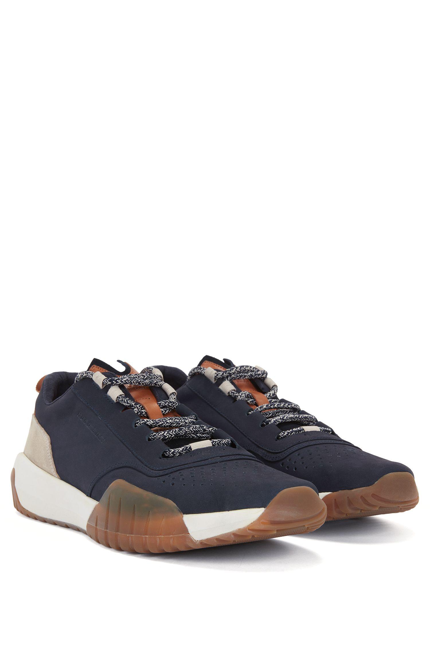 Ledersneakers mit Strobel-Machart, Dunkelblau