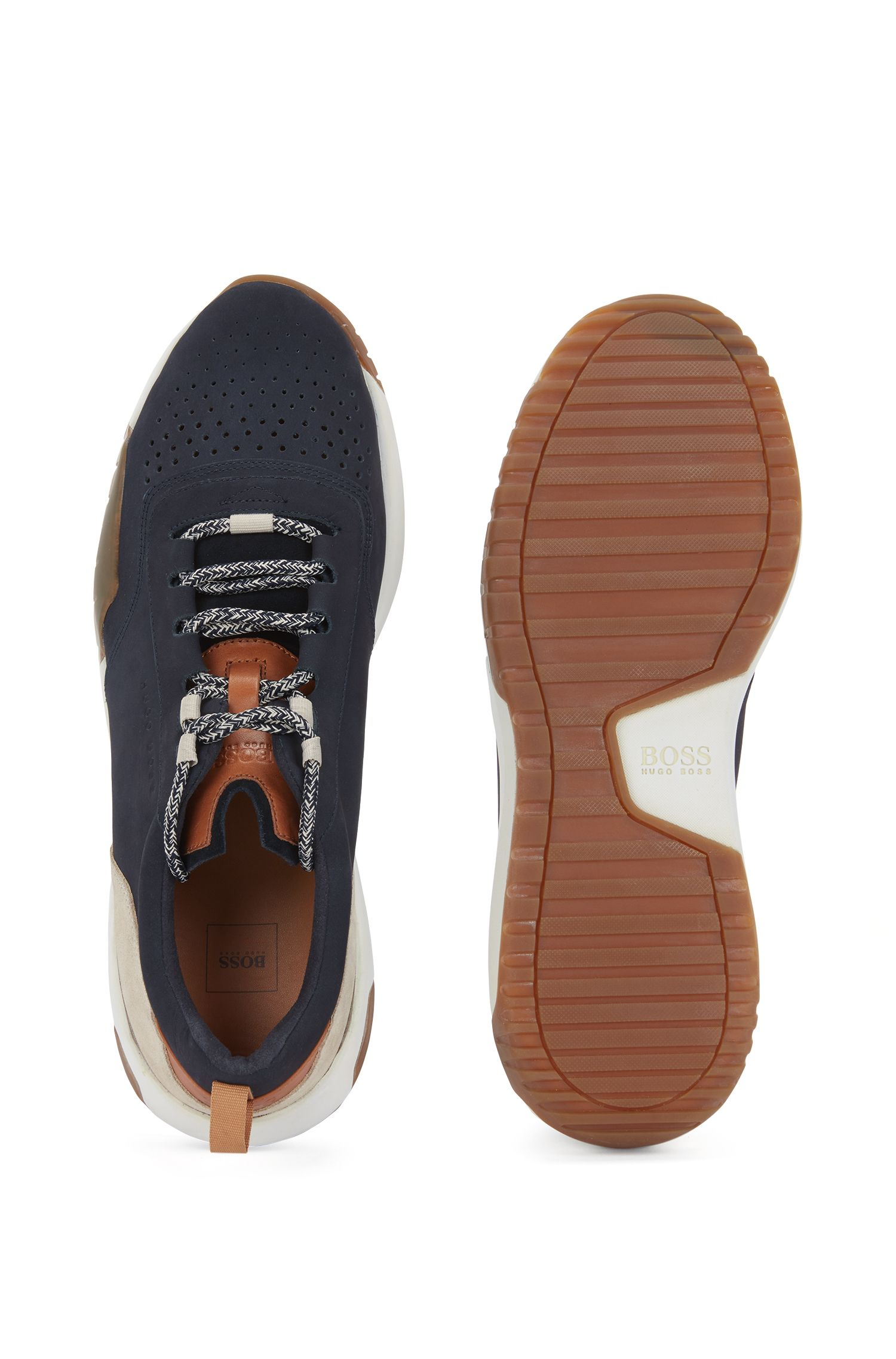 Calf-leather trainers with Strobel construction, Dark Blue