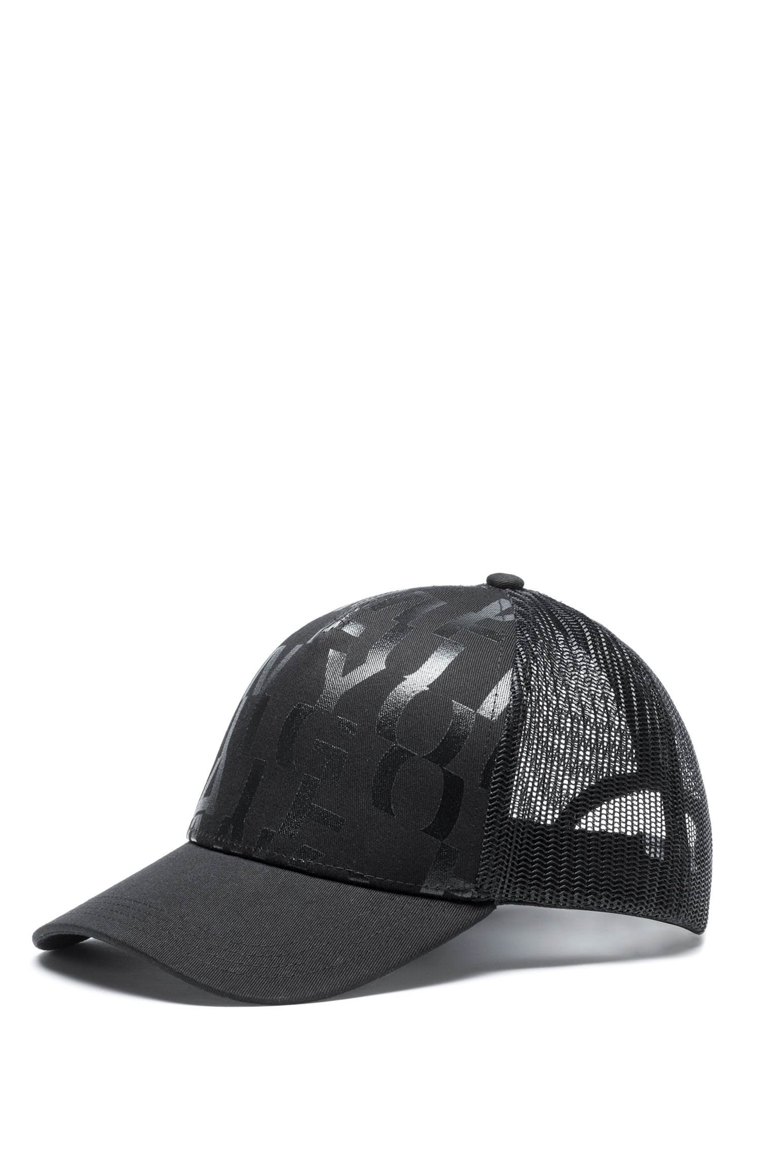 Cotton-gabardine cap with abstract slogan, Black