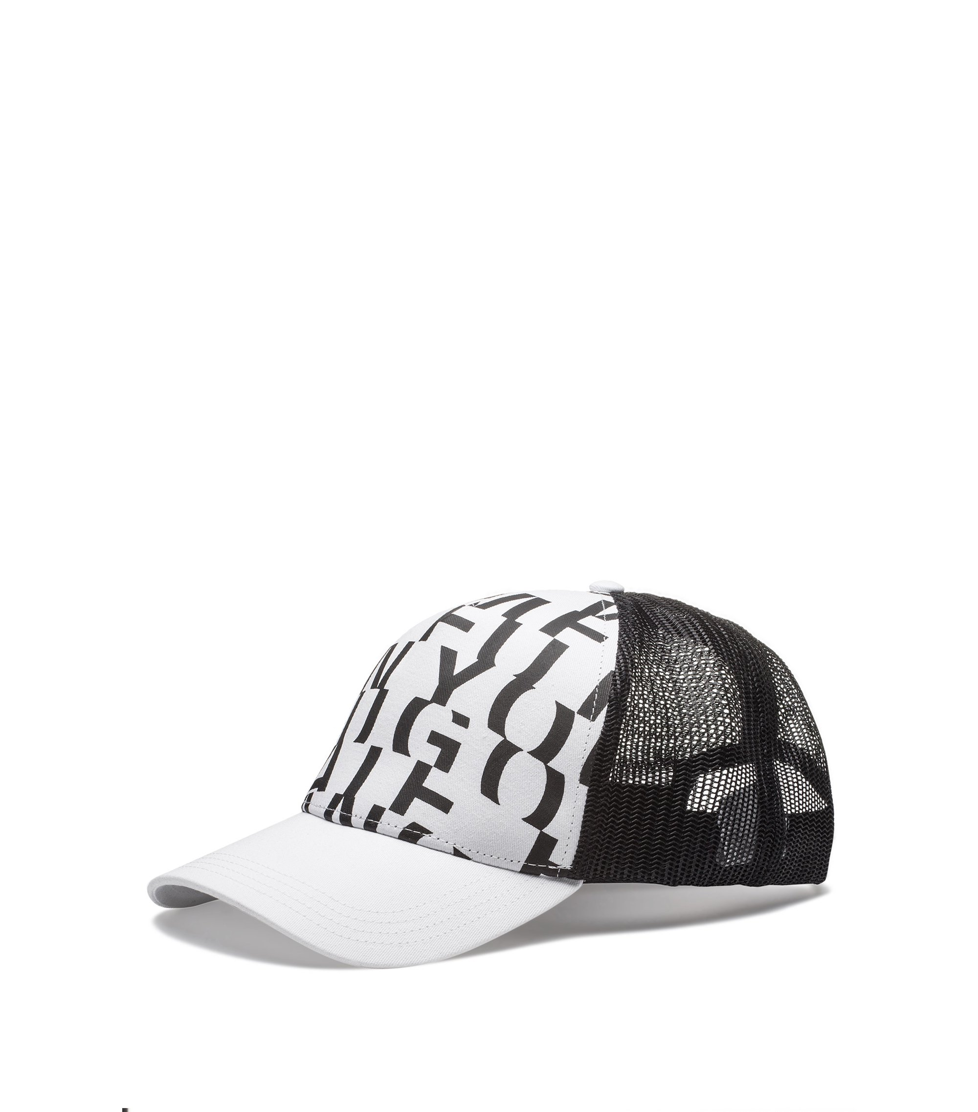 Cotton-gabardine cap with abstract slogan, White