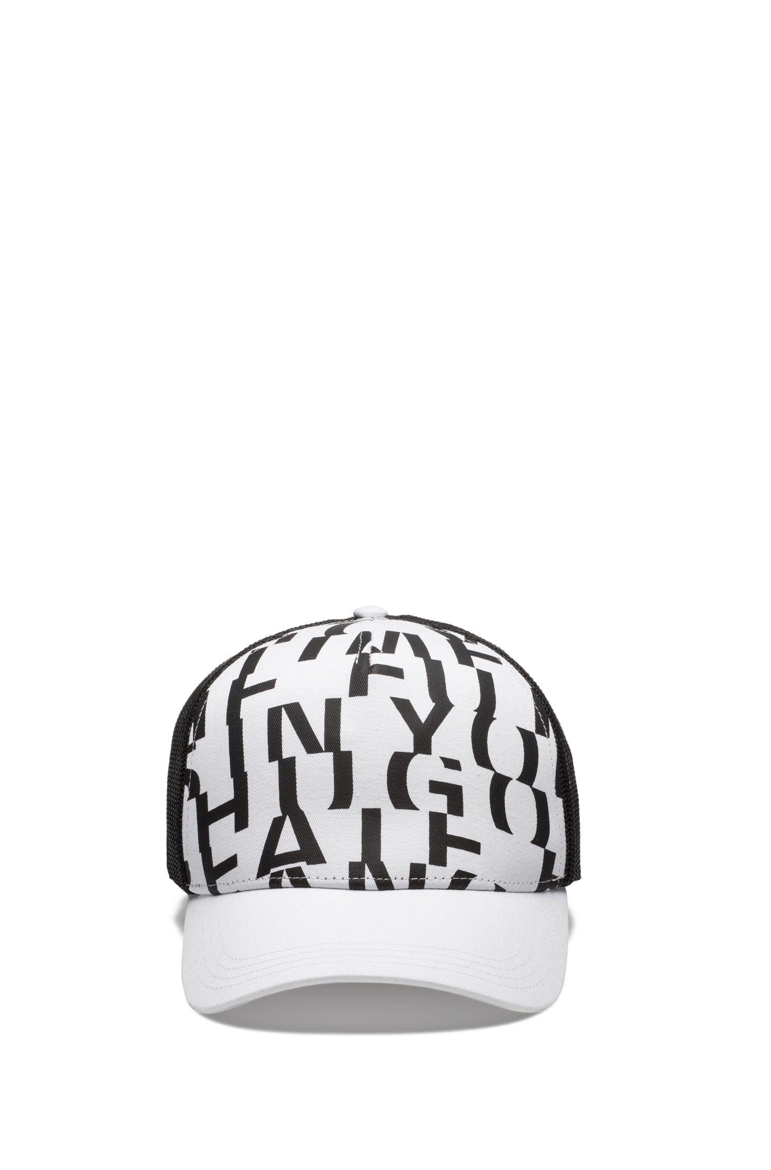 Cotton-gabardine cap with abstract slogan, White