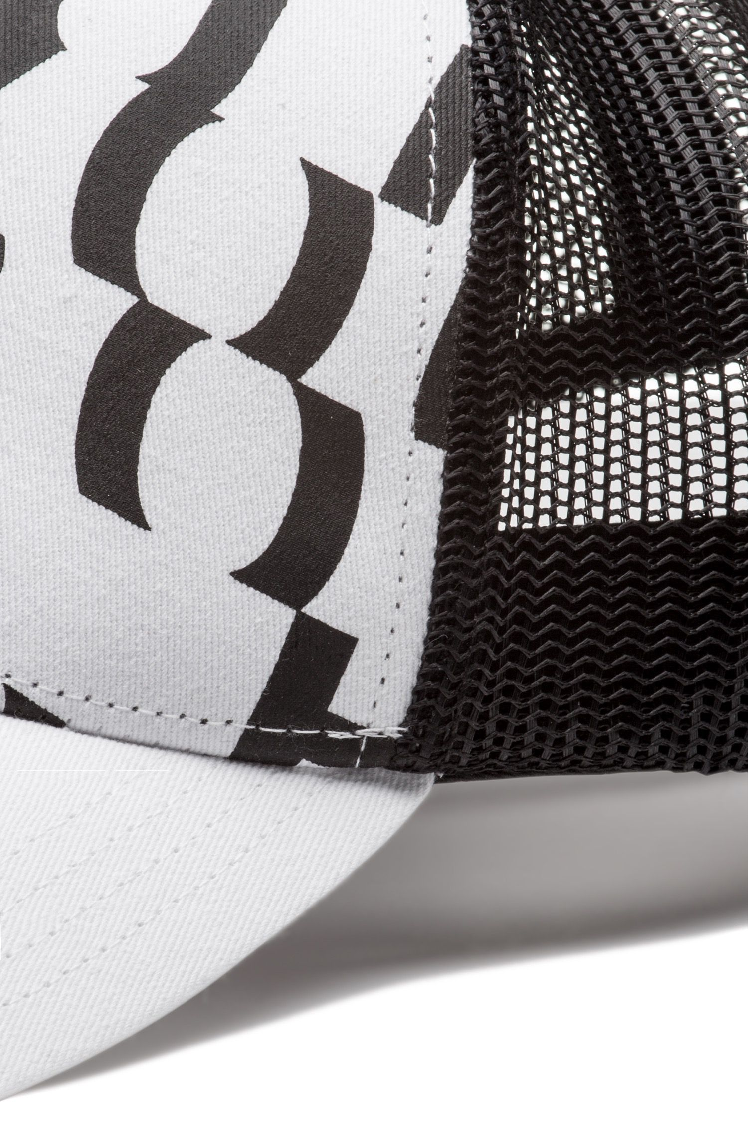 Casquette en gabardine de coton à message abstrait, Blanc
