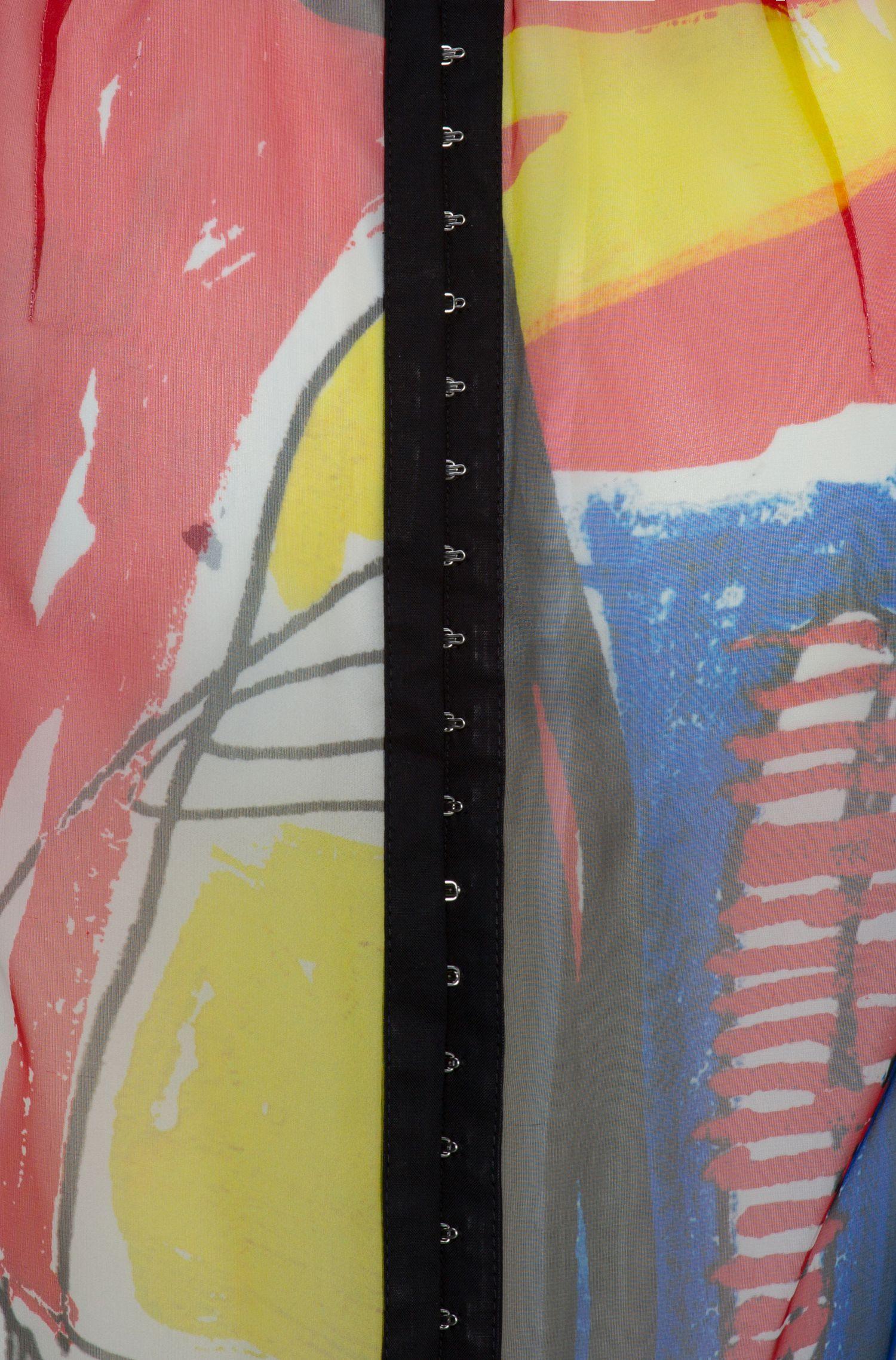 Ärmelloses Maxikleid aus bedruckter Seide