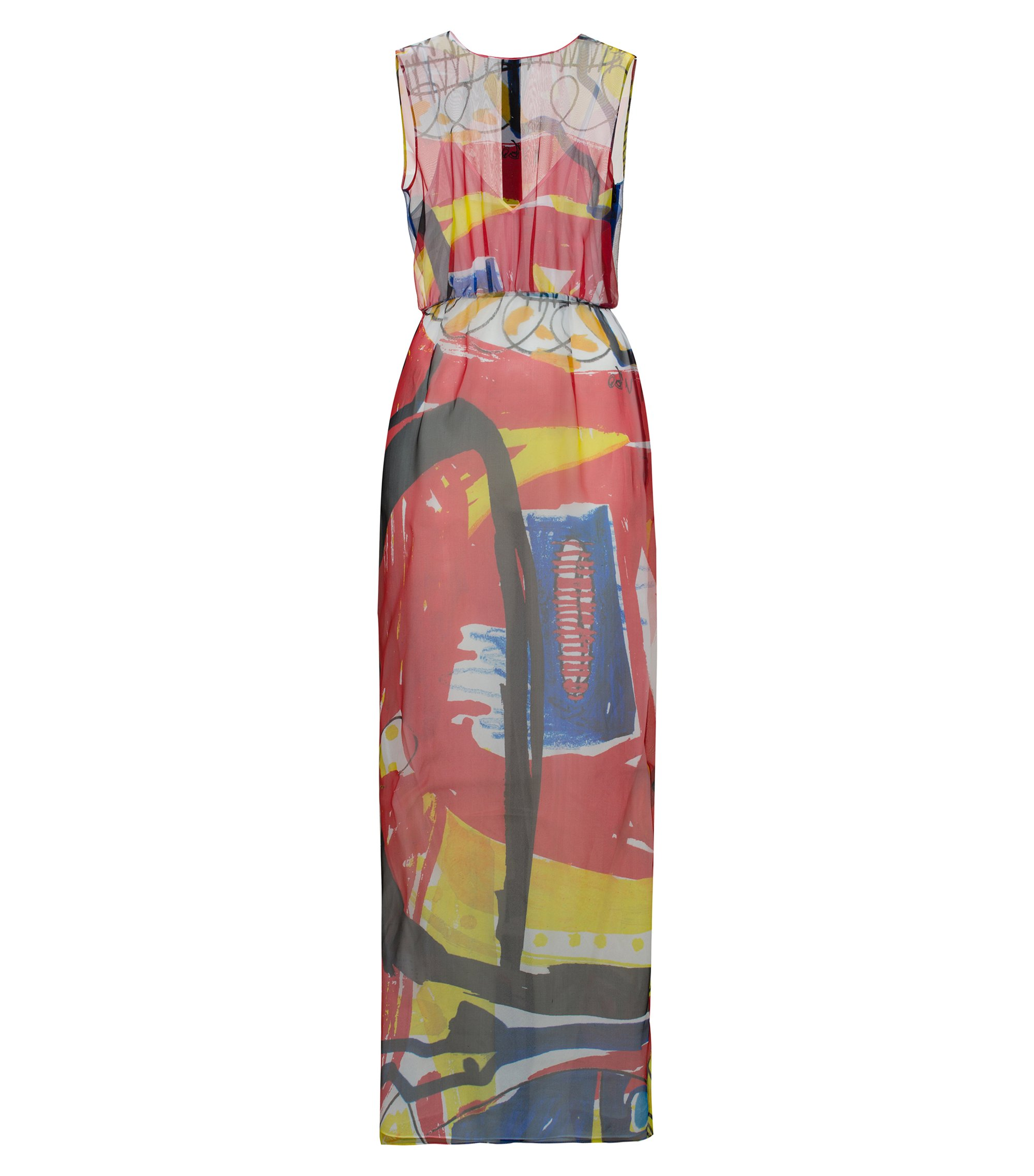 Sleeveless long dress in printed silk, Patterned