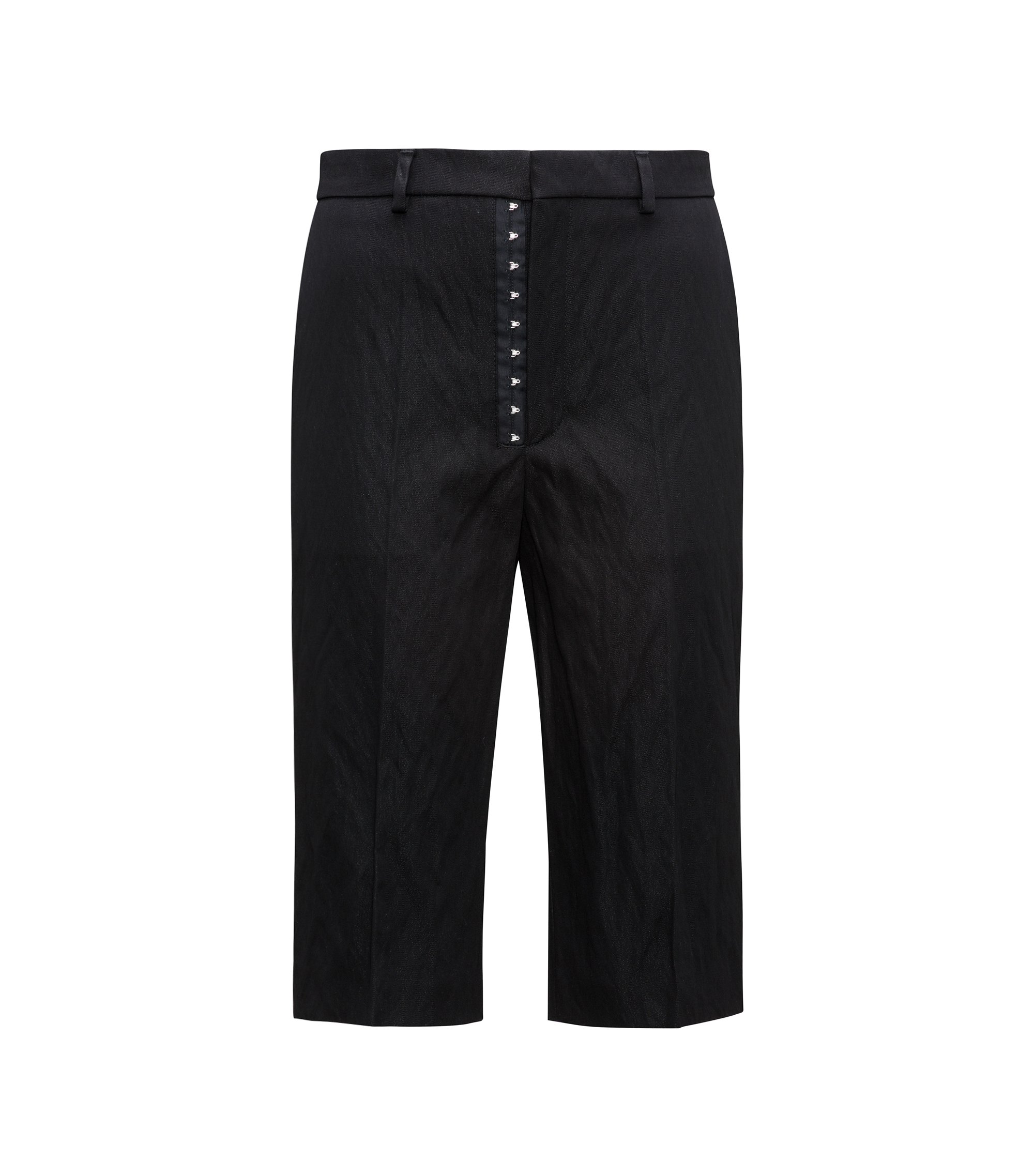 Utilitarian shorts in a crushed cotton blend, Black