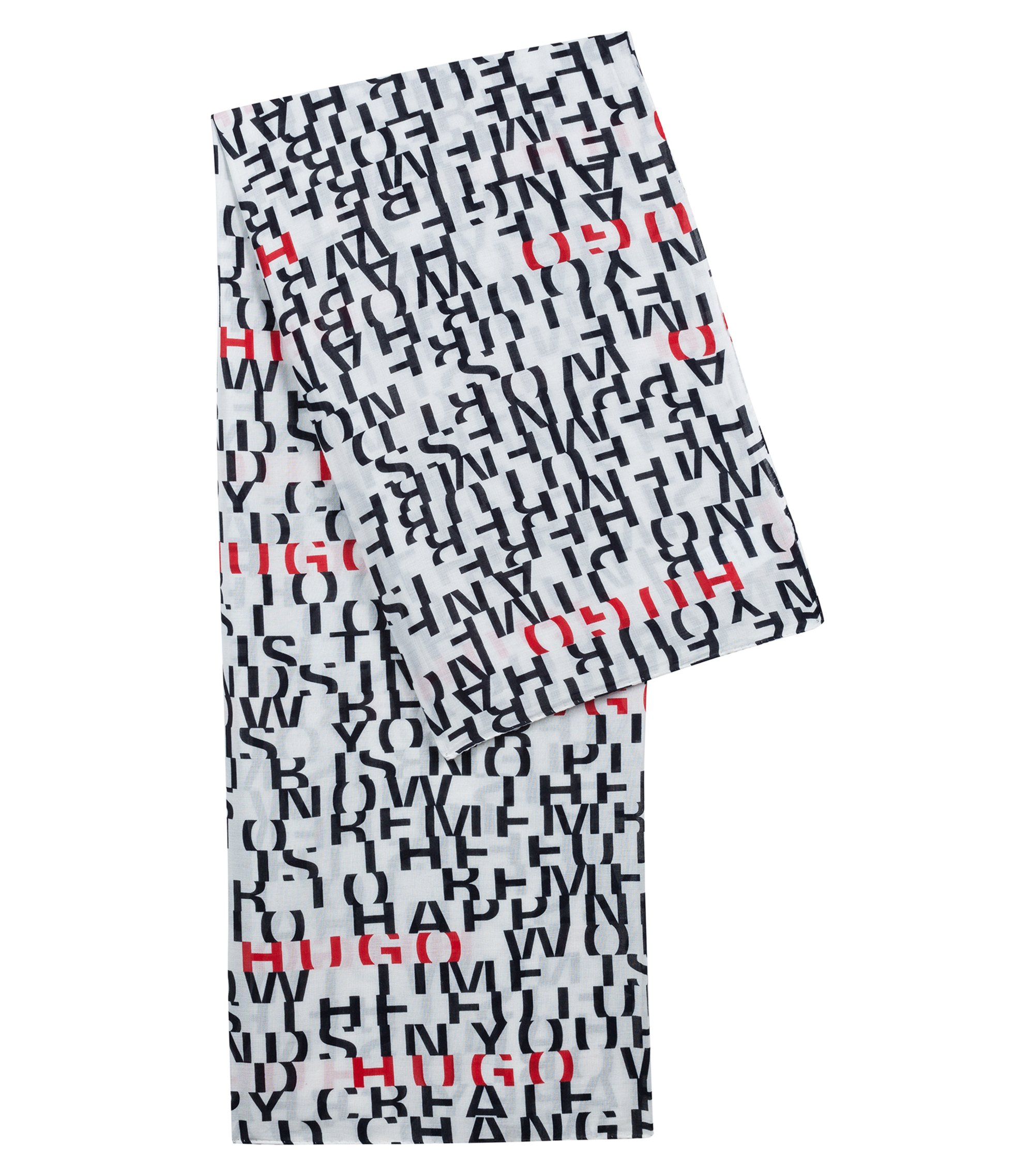 Lightweight modal-blend scarf with slogan print, Patterned