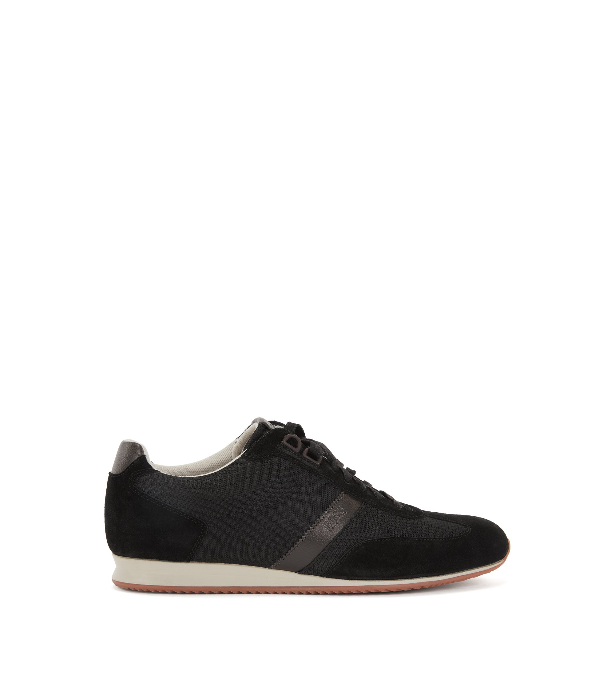 Low-top trainers with nylon and suede uppers, Black