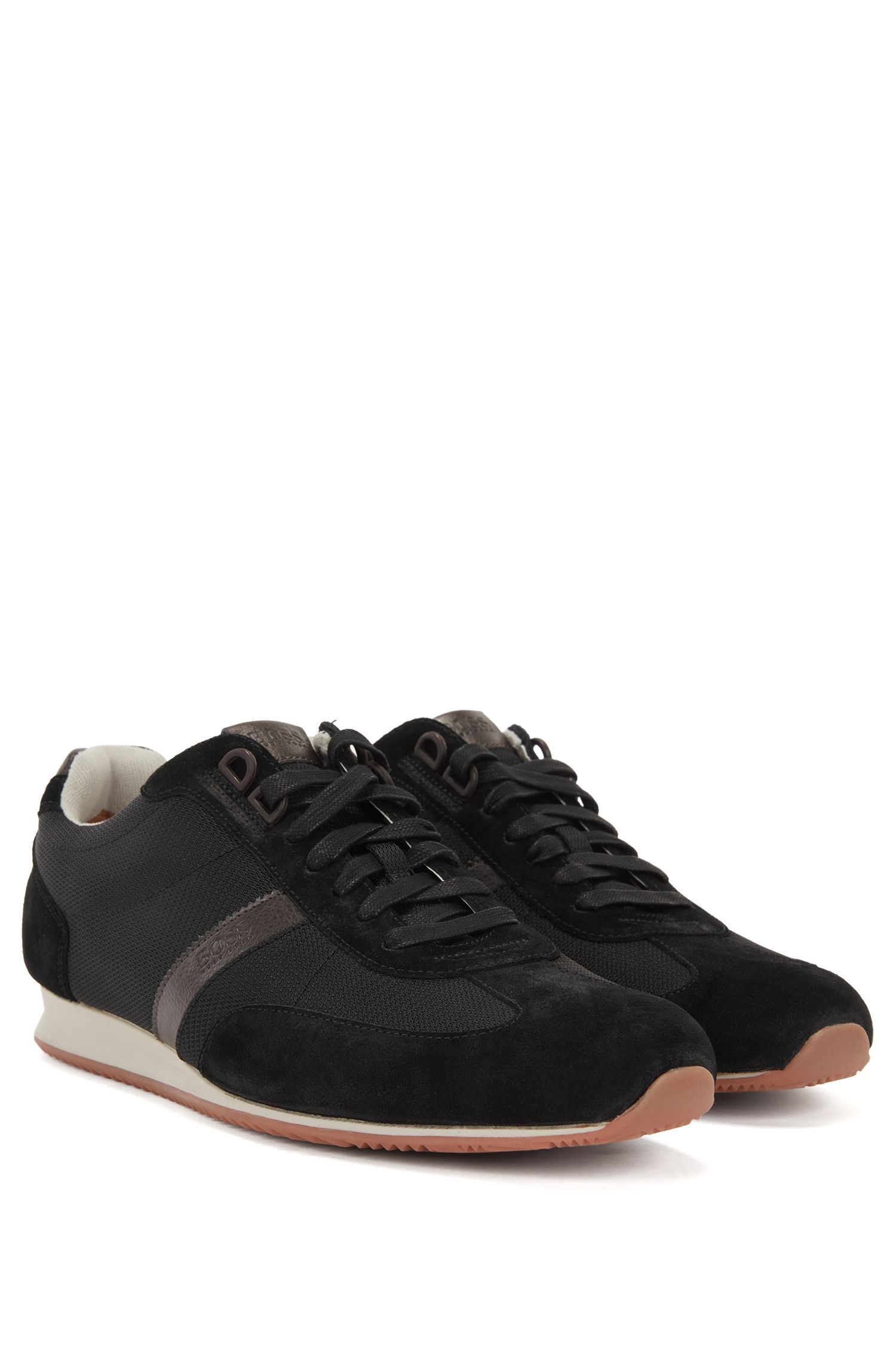 Low-top trainers with nylon and suede uppers BOSS