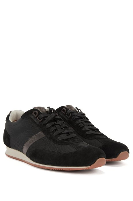 Low-top trainers with nylon and suede uppers BOSS RYfRJiwUxK