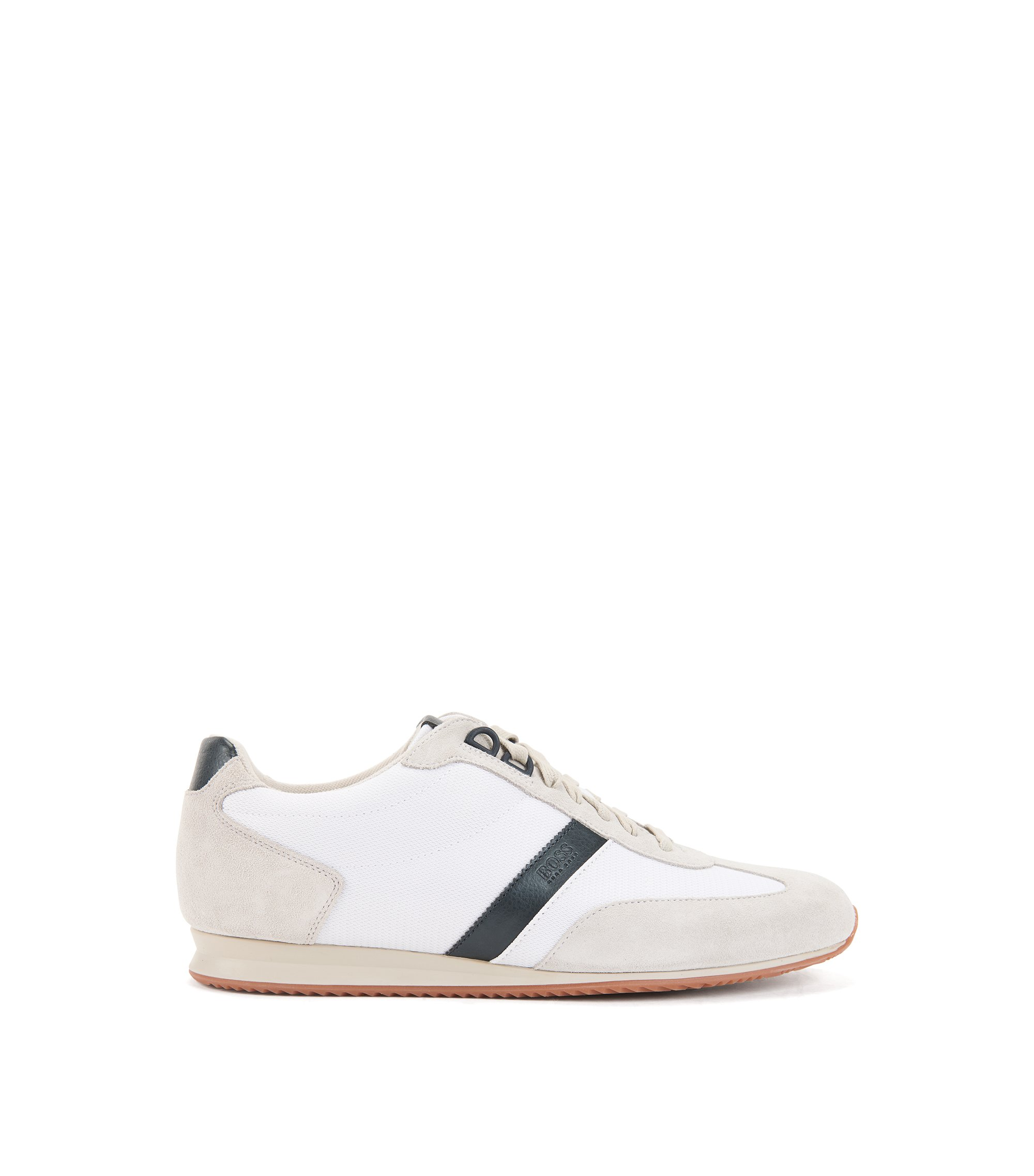 Low-top trainers with nylon and suede uppers, White