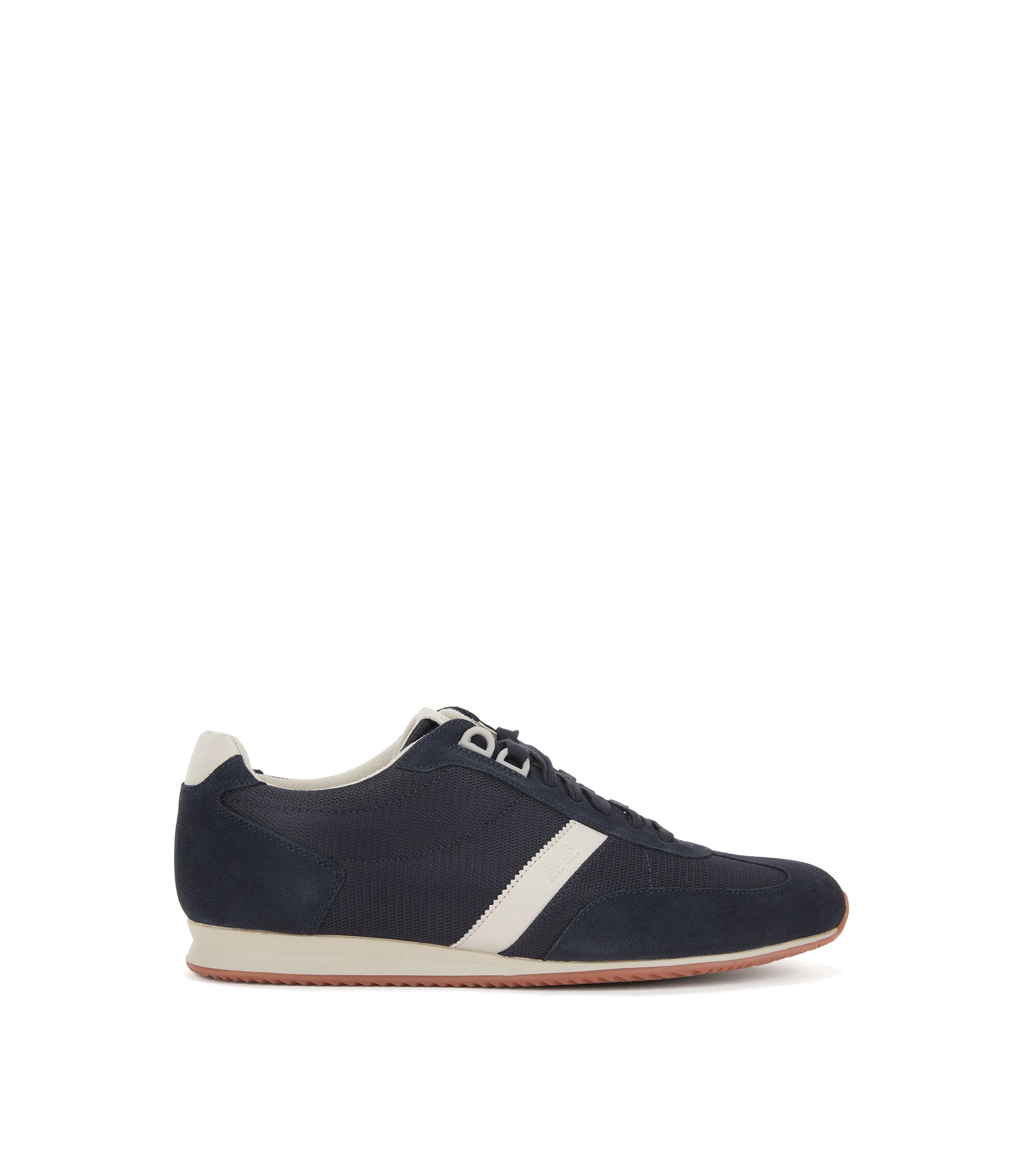 Low-top trainers with nylon and suede uppers, Dark Blue