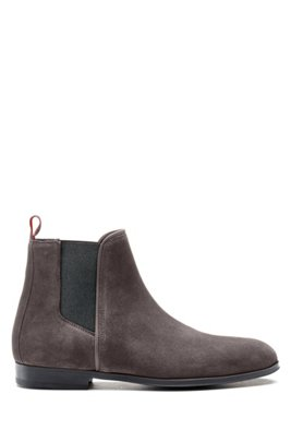 Suede Chelsea boots with contrast elastic side panels, Dark Grey