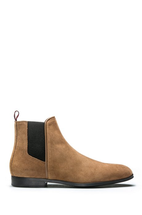 Suede Chelsea boots with contrast elastic side panels, Brown
