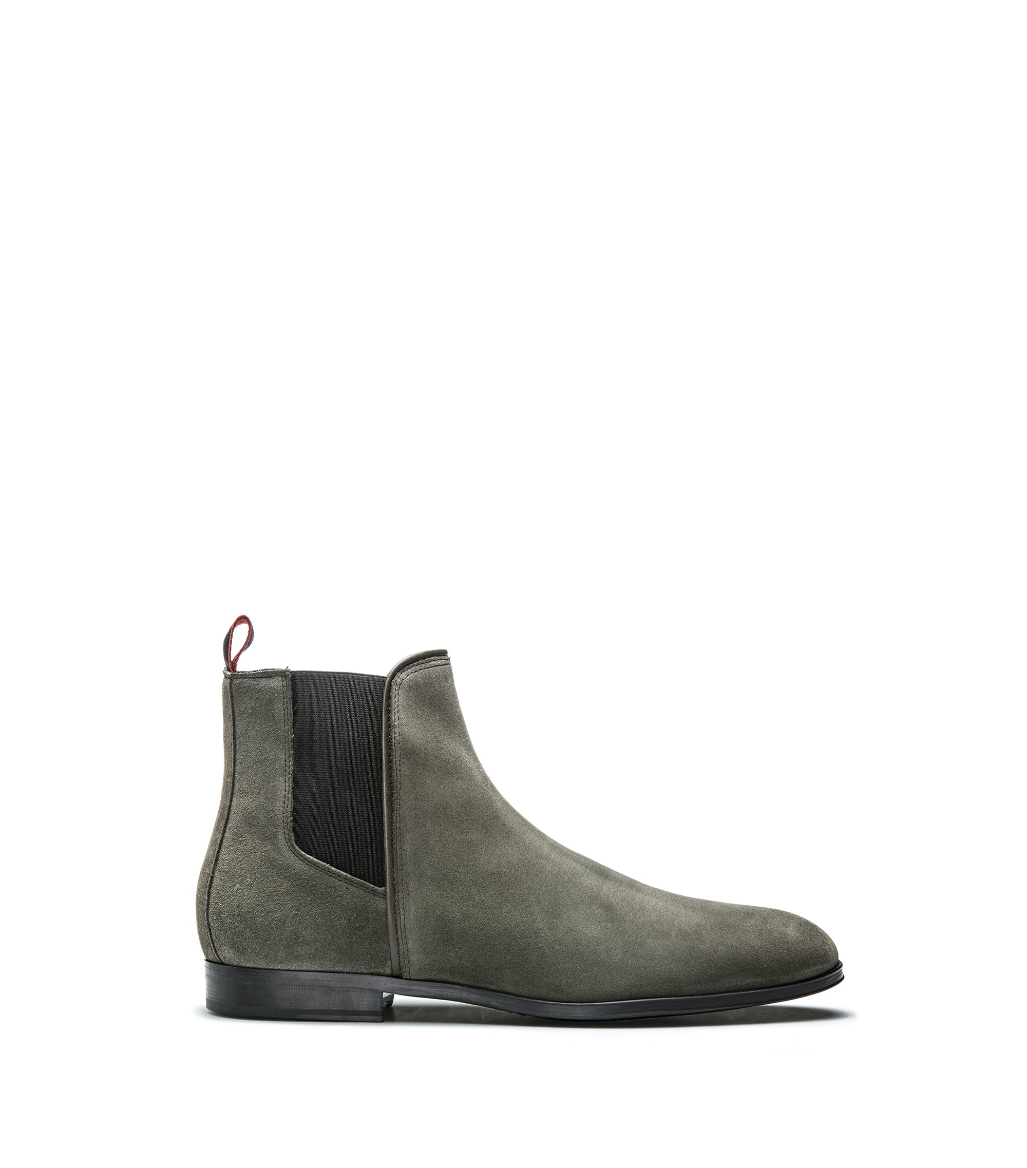 Suede Chelsea boots with contrast elastic side panels, Dark Green