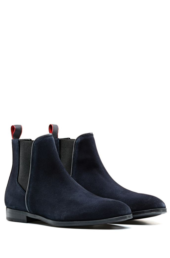 Suede Chelsea boots with contrast elastic side panels