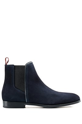 Suede Chelsea boots with contrast elastic side panels, Dark Blue