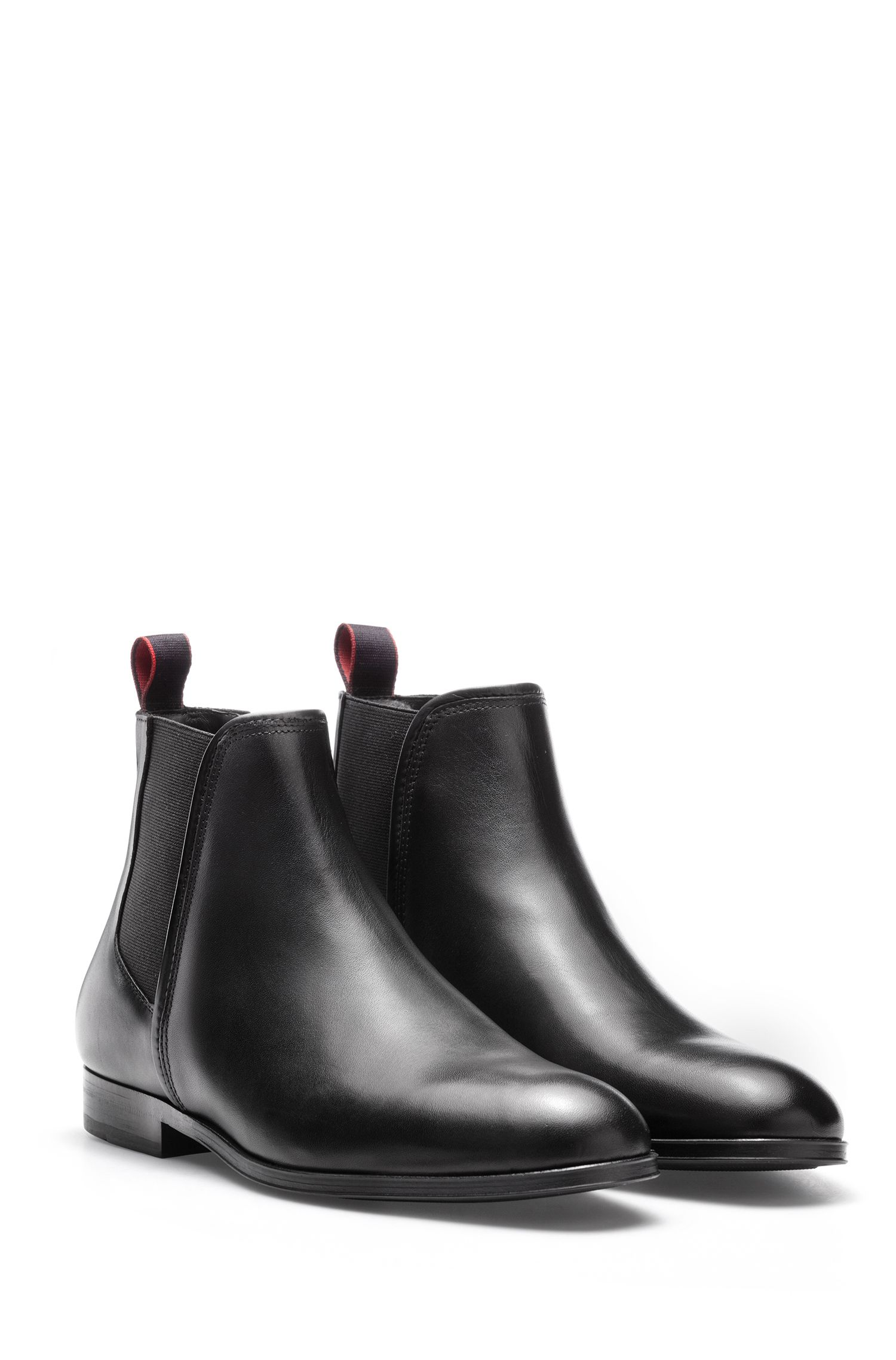 Chelsea boots in smooth calf leather, Black